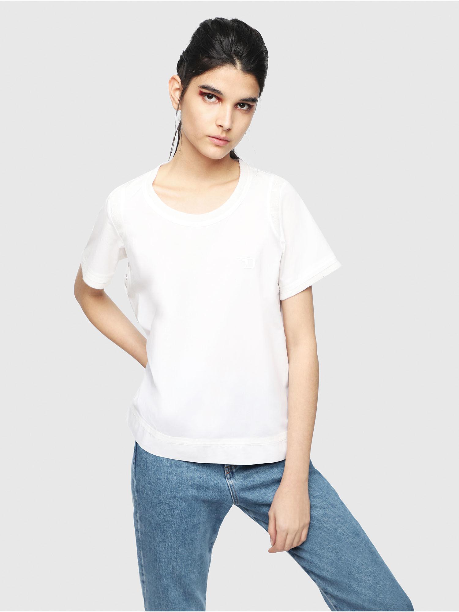 924bf21802b9 DIESEL - White Poplin T-shirt With Tonal Trims - Lyst. View fullscreen