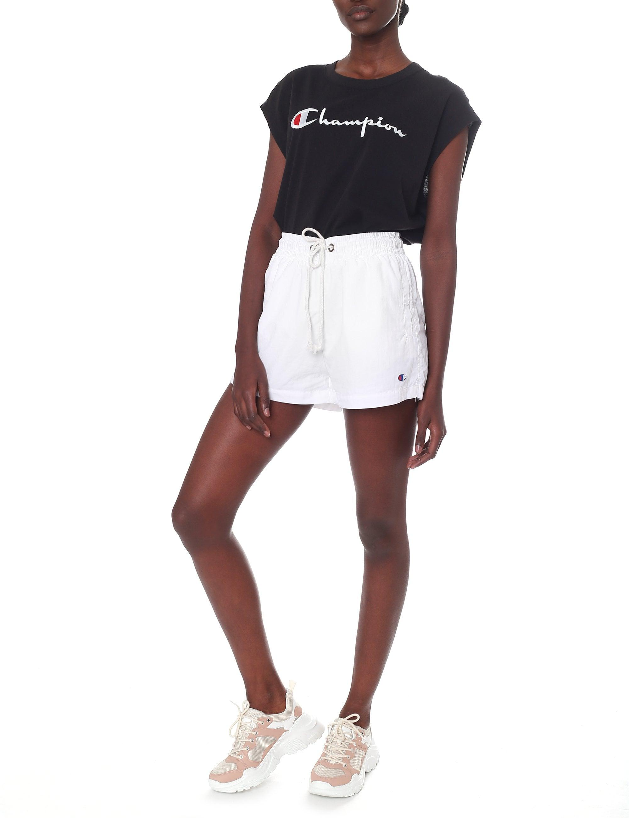 09a739091bc Champion Oversized Script Logo Cropped Tank Top in Black - Lyst