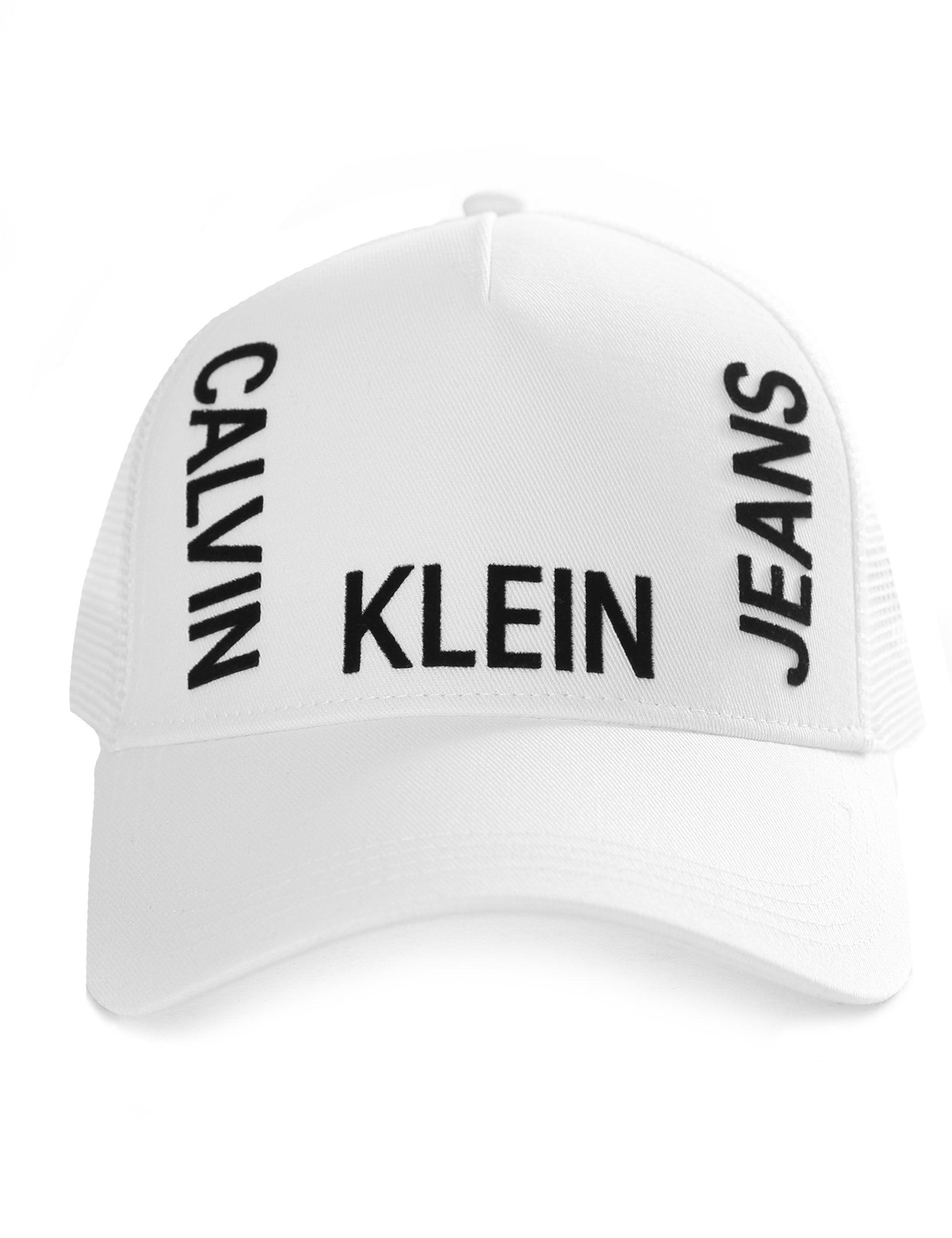 243c1080371 Calvin Klein Men s J Trucker Mesh Cap in White for Men - Lyst