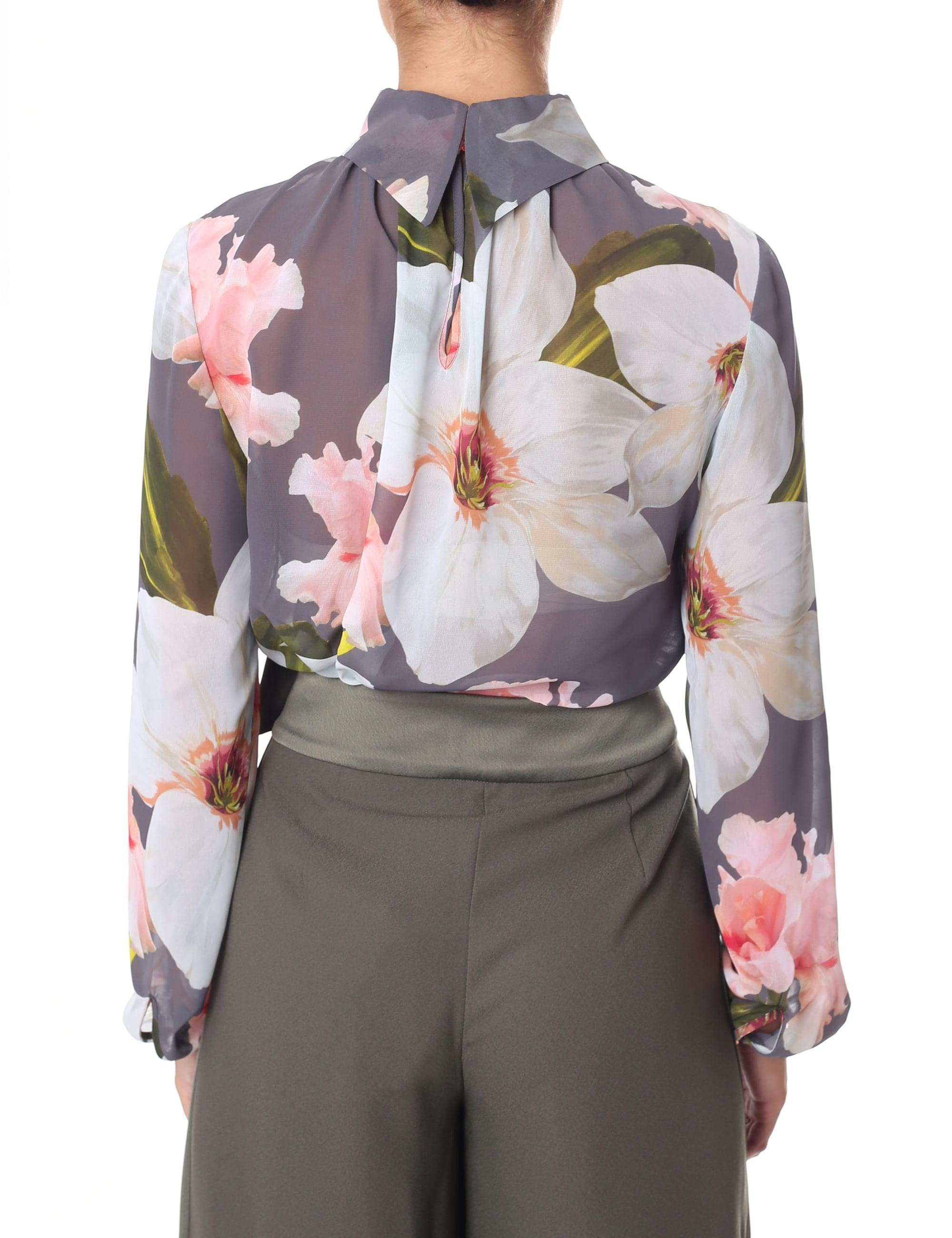 6765b09b6af6 Ted Baker Tily Chatsworth Bloom Ruched Blouse in Gray - Lyst