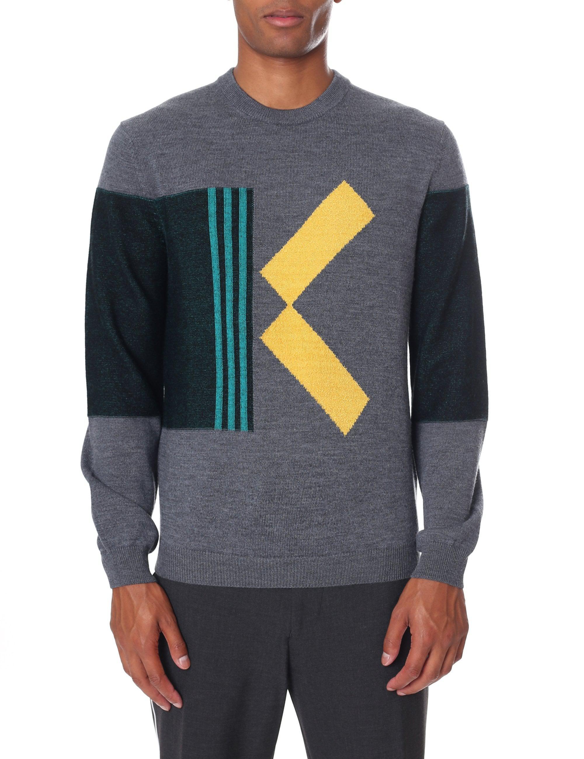 0c380af34c79 Kenzo Men s Colourblock K Jumper Dove Grey in Gray for Men - Lyst