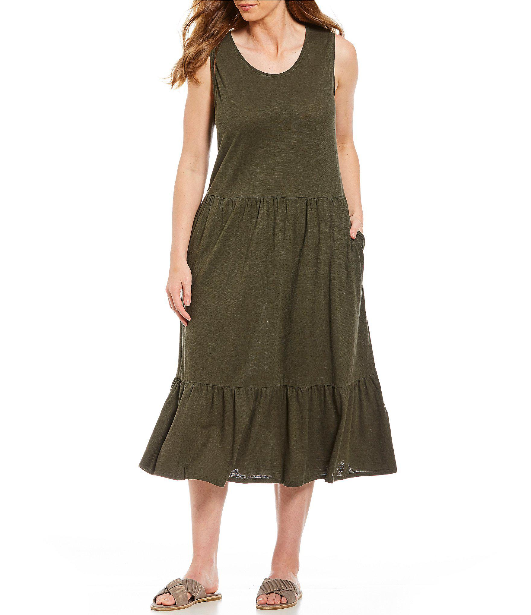 84ff094b657 Lyst - Eileen Fisher Plus Size Scoop Neck Sleeveless Dress in Green