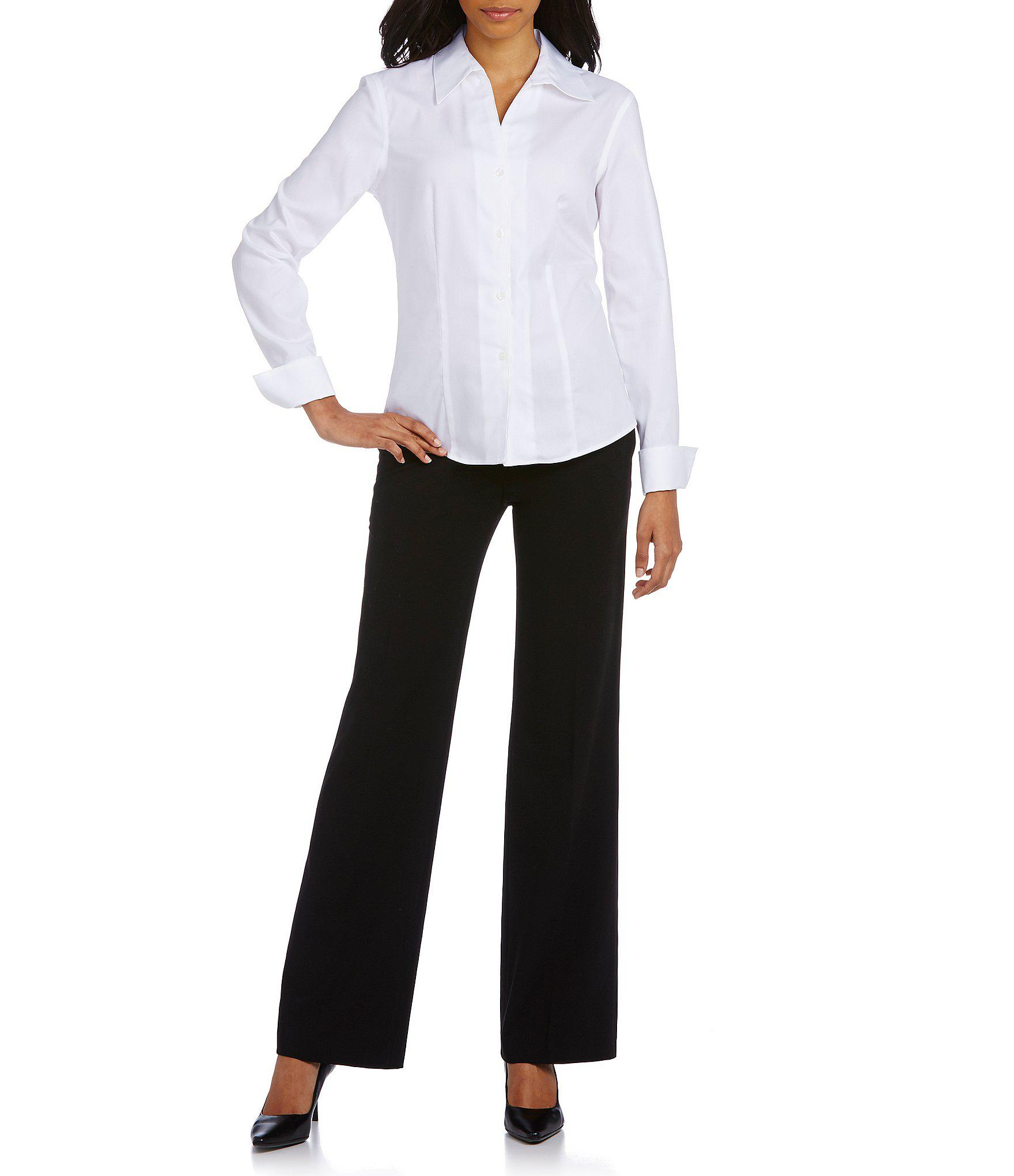 Lyst Calvin Klein Petite Wrinkle Free Pinpoint Oxford Blouse In White