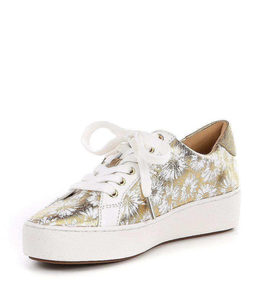 Poppy Floral Metallic Pattern Lace Up Sneakers c7lkrrM