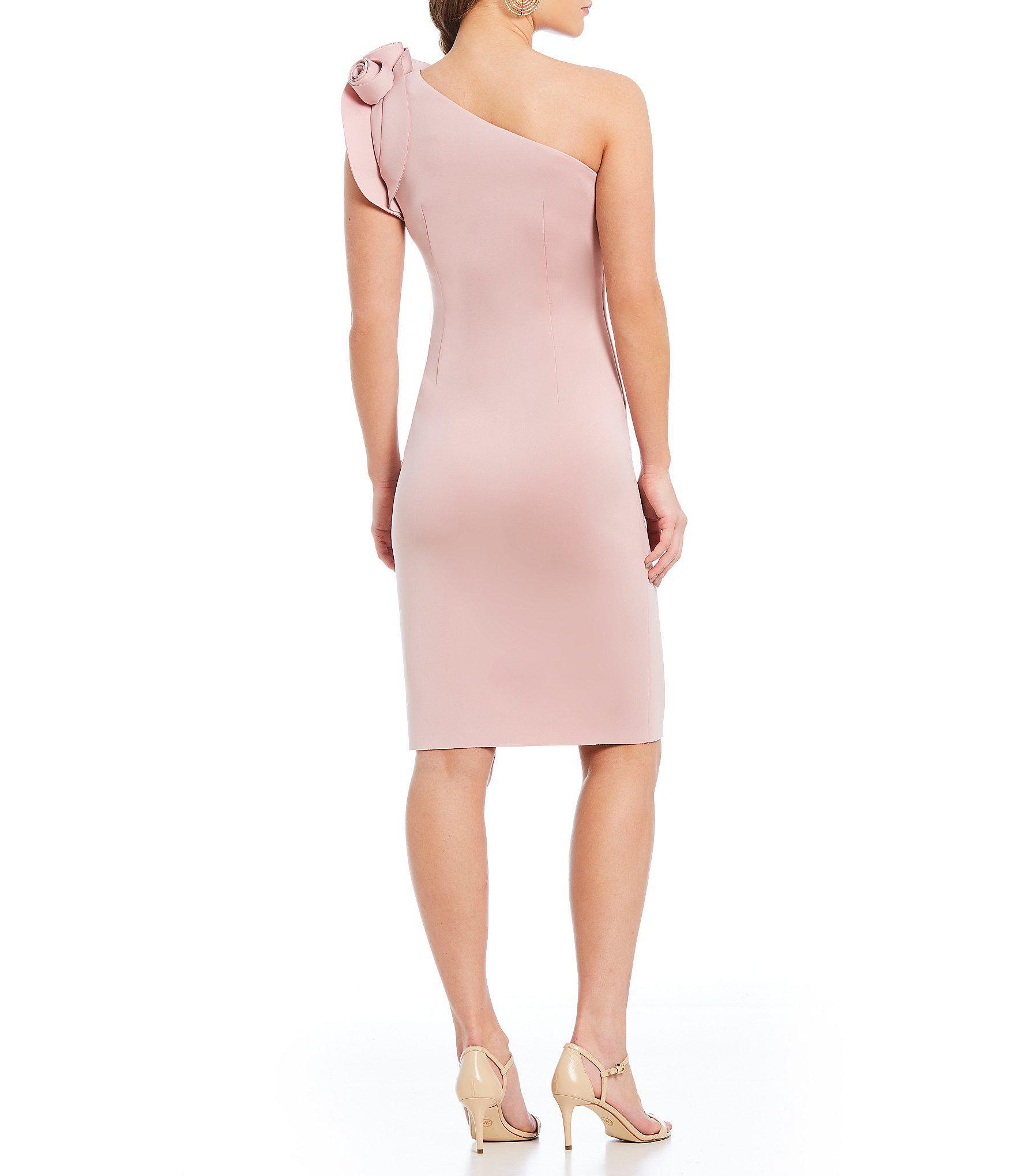 010e7ef72c9 Eliza J - Pink One Shoulder Ruffle Sleeve Sheath Dress - Lyst. View  fullscreen