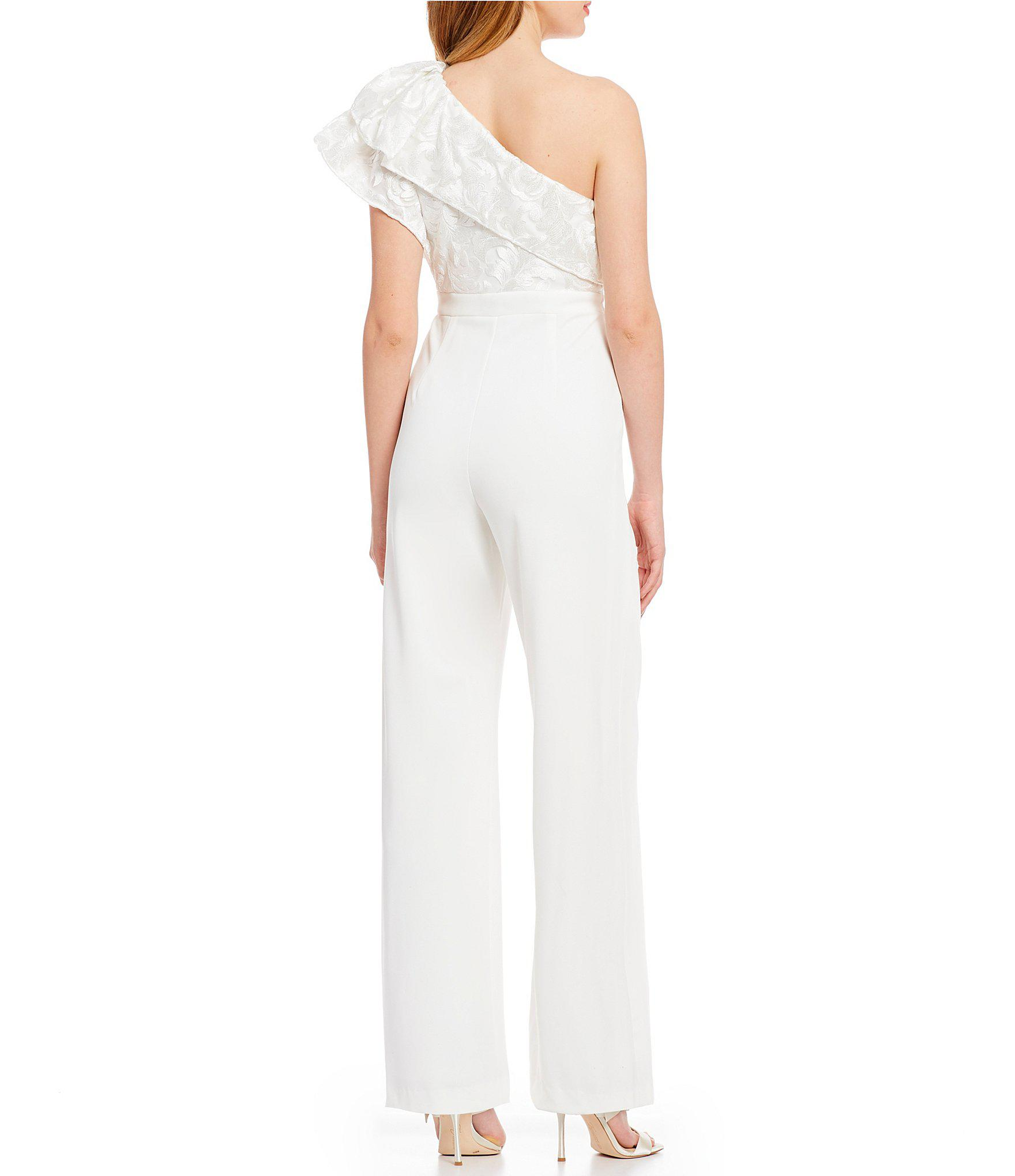 338f1489f99 Adrianna Papell - White Ruffle-detail One-shoulder Jumpsuit - Lyst. View  fullscreen
