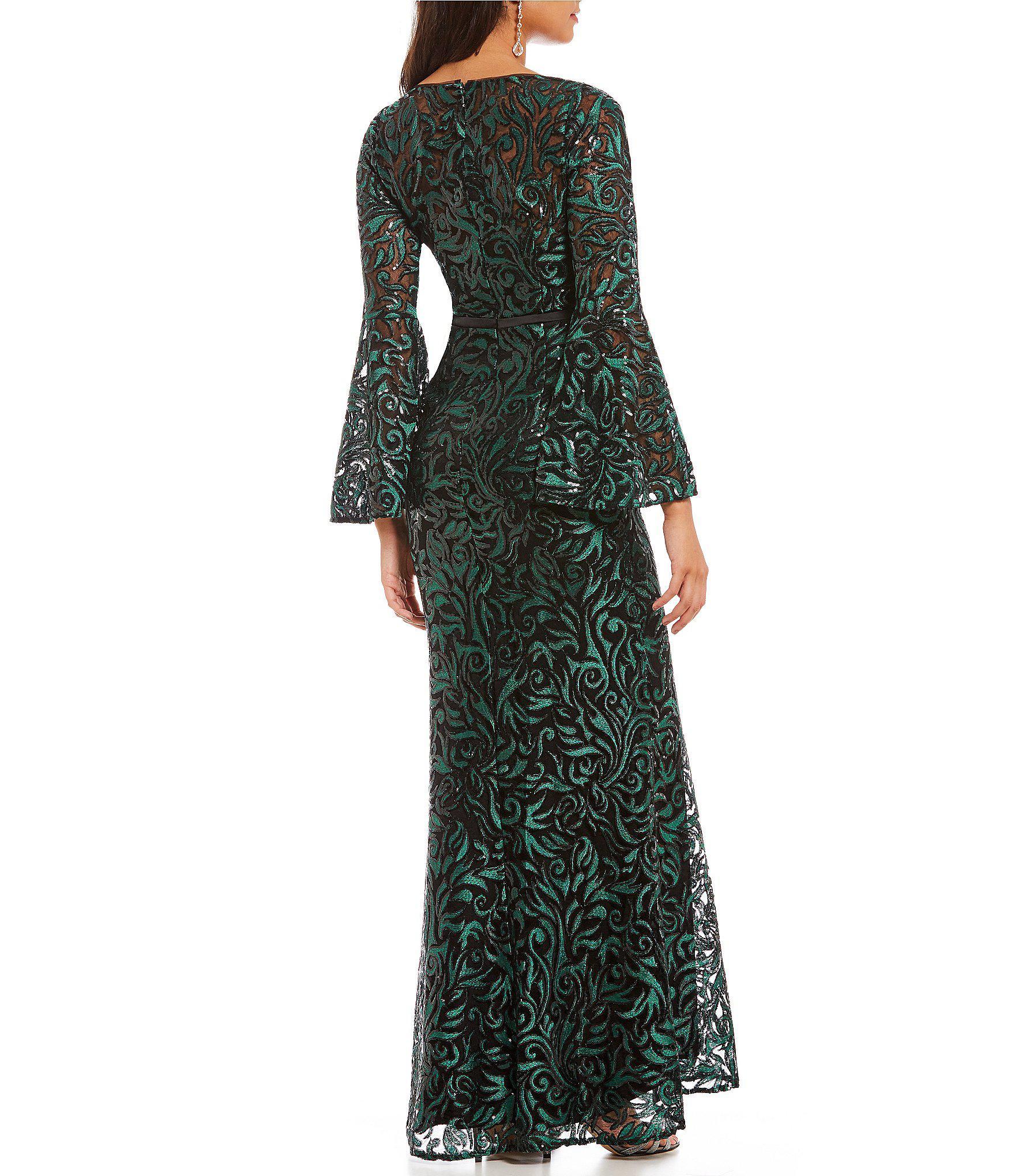 37c396db9e73da Carmen Marc Valvo Sequin Embroidered Trumpet Gown in Green - Lyst