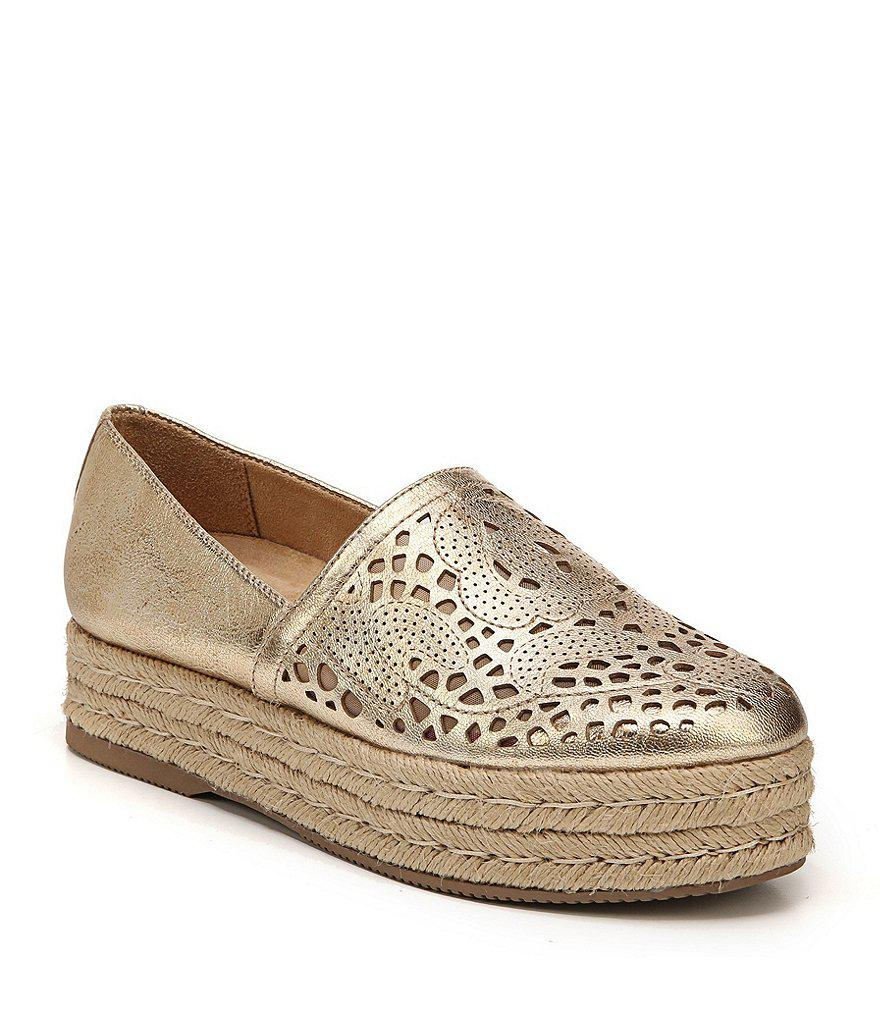 Thea Leather Laser Cut Detail Espadrilles 6xWSifV