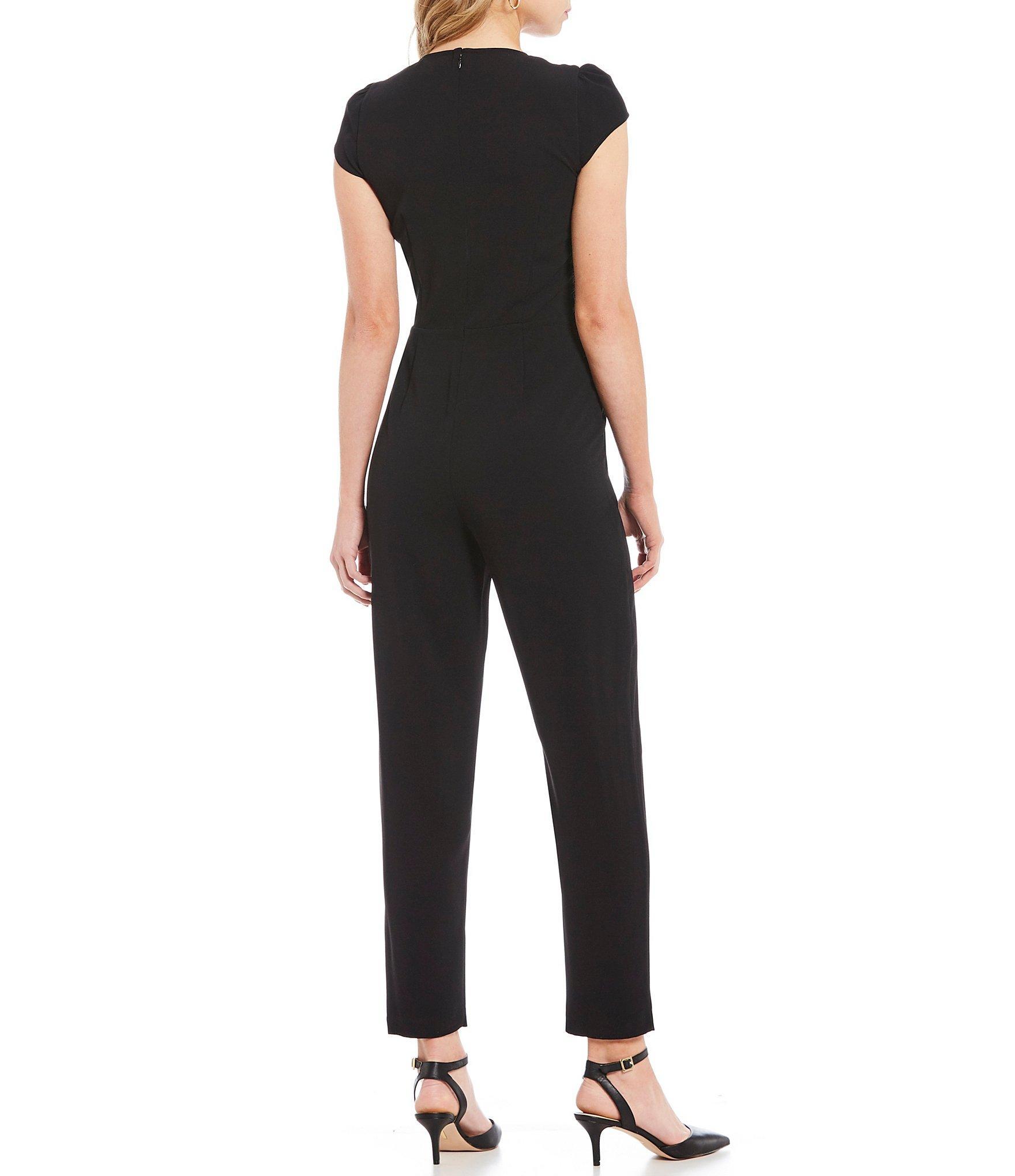 ed14e147e3f6 Lyst - Cece Moss Crepe Cap Sleeve V-neck Bow Waist Jumpsuit in Black