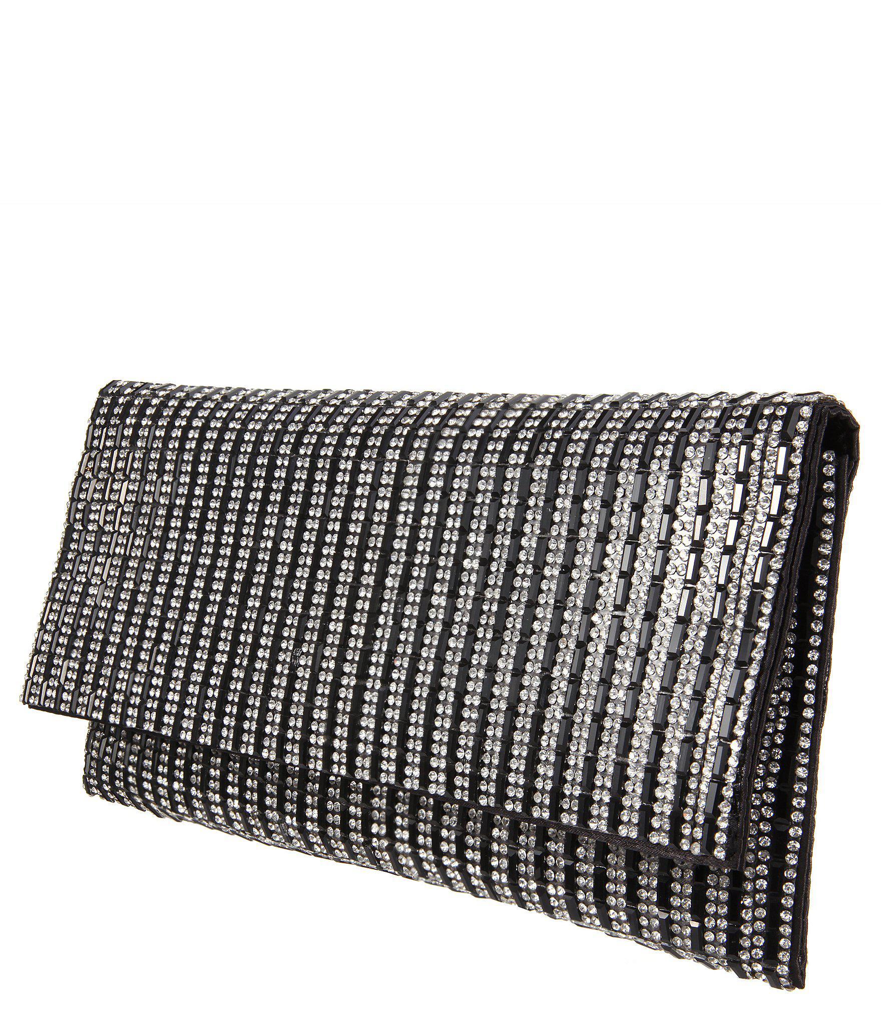 Lyst - Nina Stripe Pattern Crystal Clutch in Black - Save ... 15578a86fe
