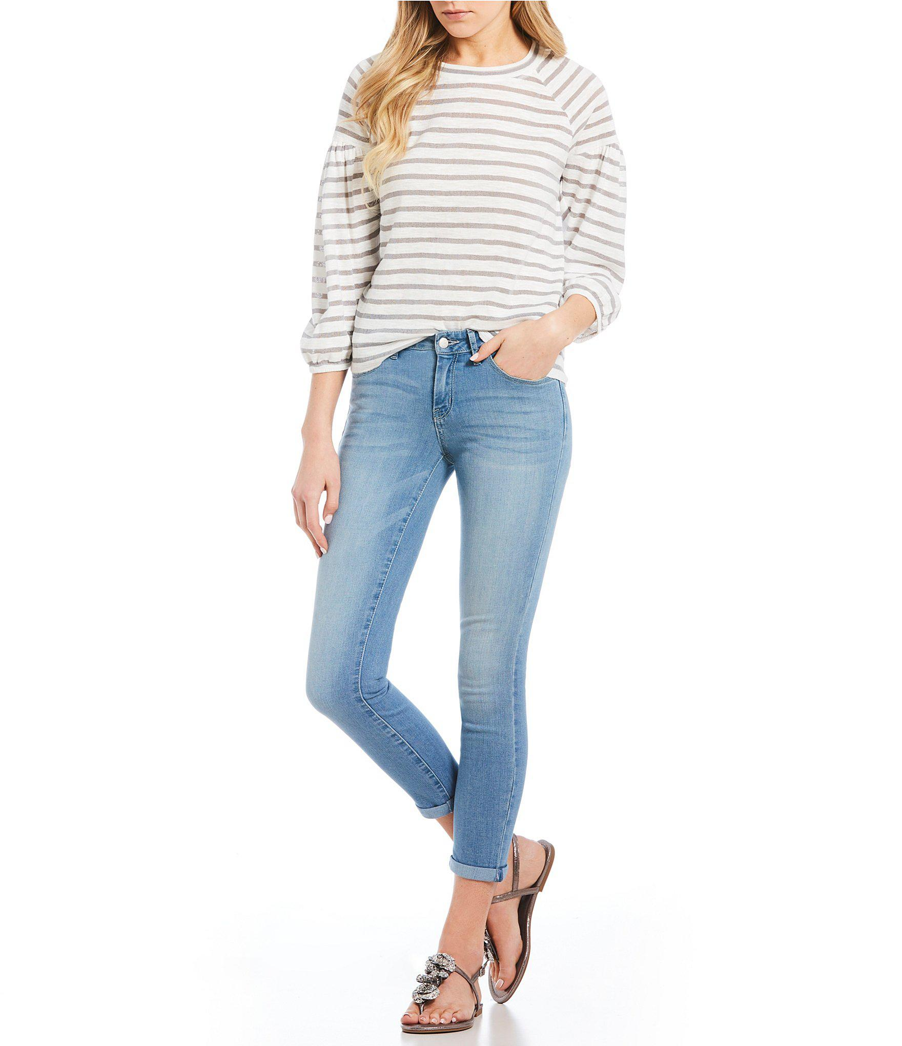eb51a3d1e4e747 Jessica Simpson - Gray Suwa Striped Balloon Sleeve Top - Lyst. View  fullscreen