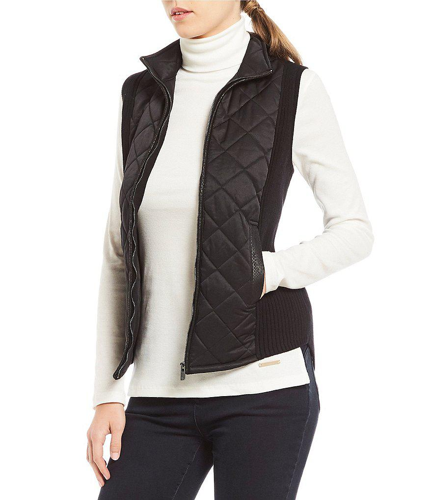Jones new york Quilted Sateen Front Ribbed Sweater Vest in Black ...