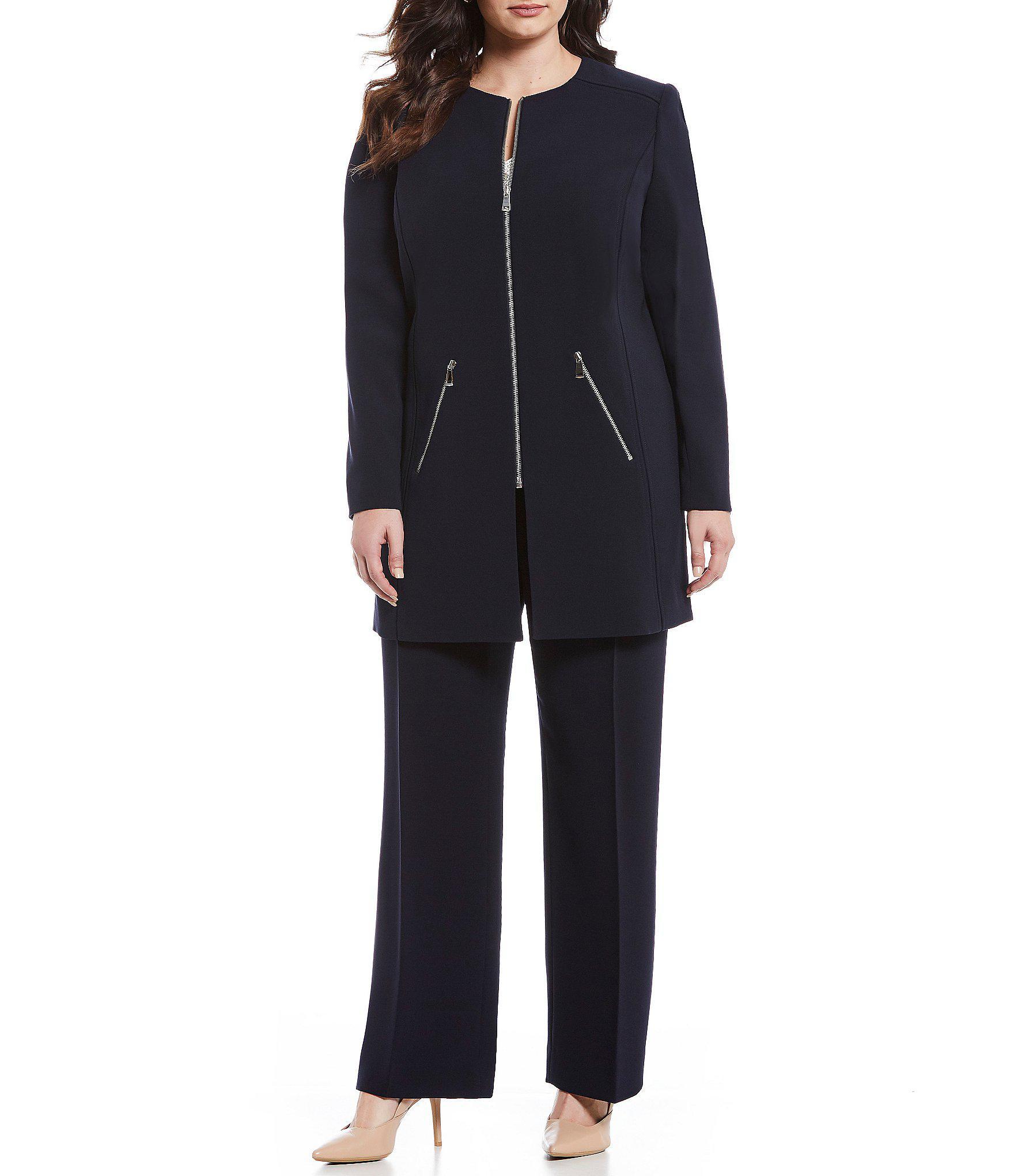 f99f34e568 Tahari Plus Size Zip-front Topper Jacket 2-piece Pant Suit in Blue ...