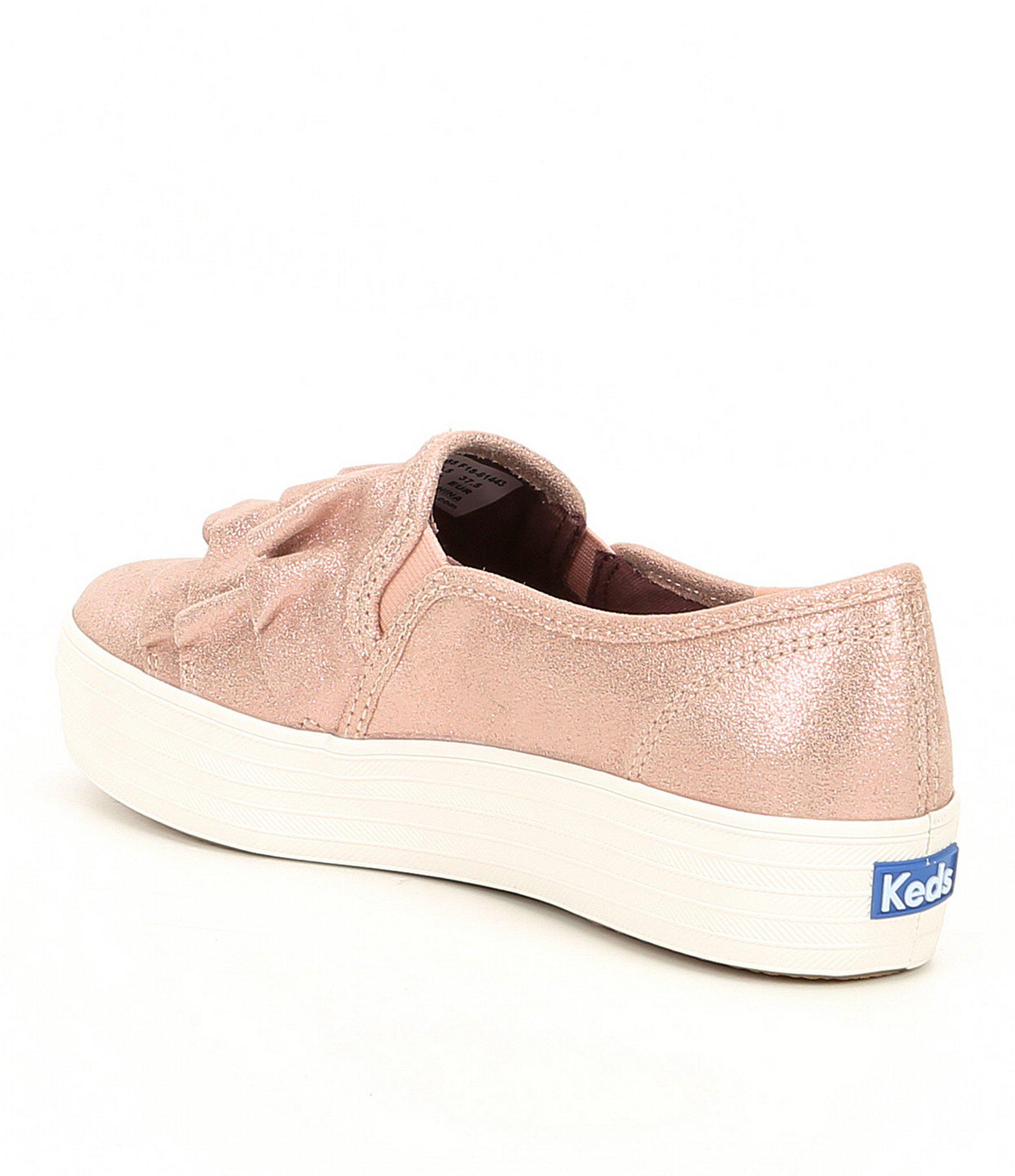 406b6aac1615 Lyst - Keds Triple Ruffle Glitter Suede Slip On Sneakers in Pink