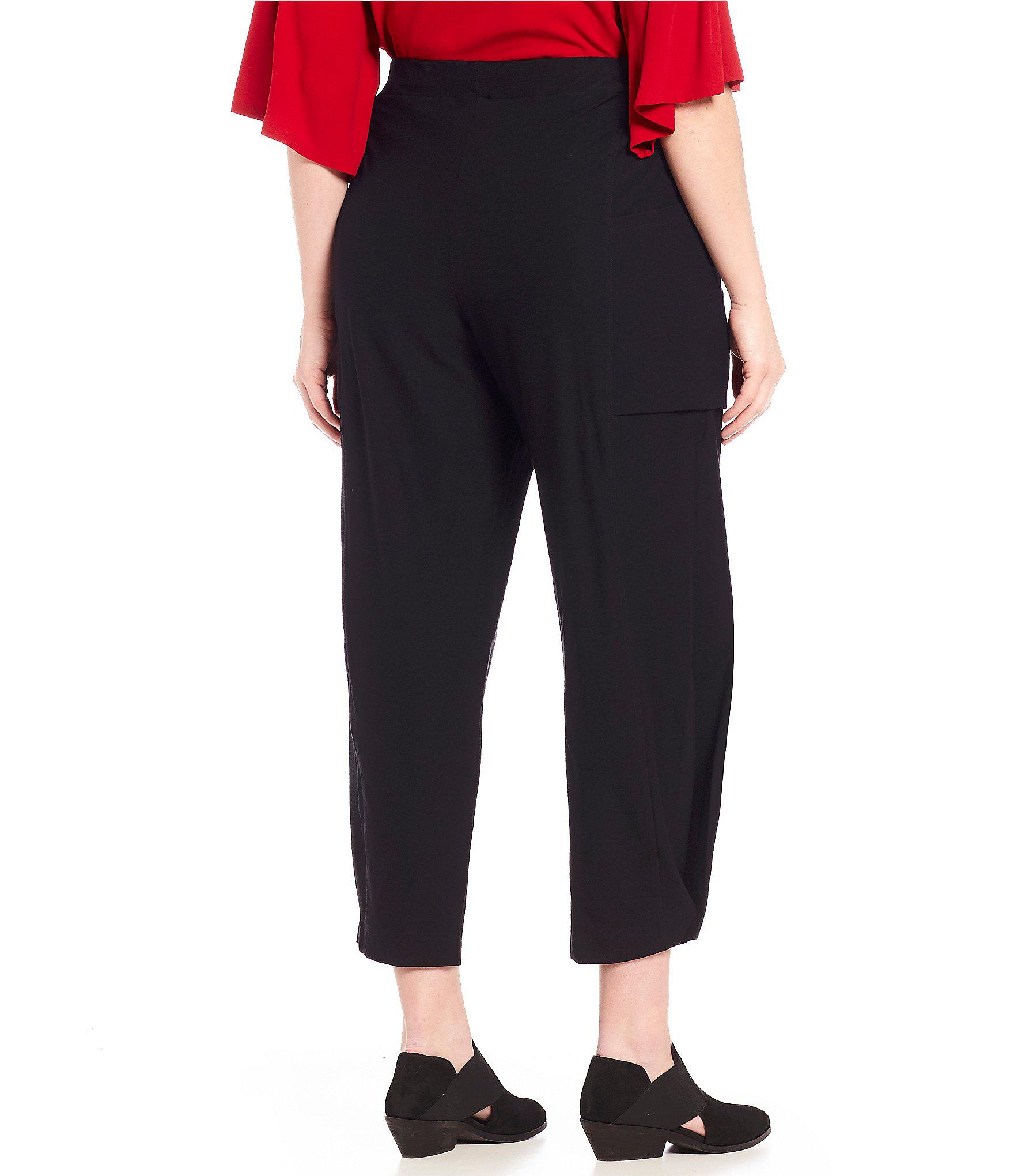 fbf0bddc129 Lyst - Eileen Fisher Plus Size Ankle Pull-on Pants in Black