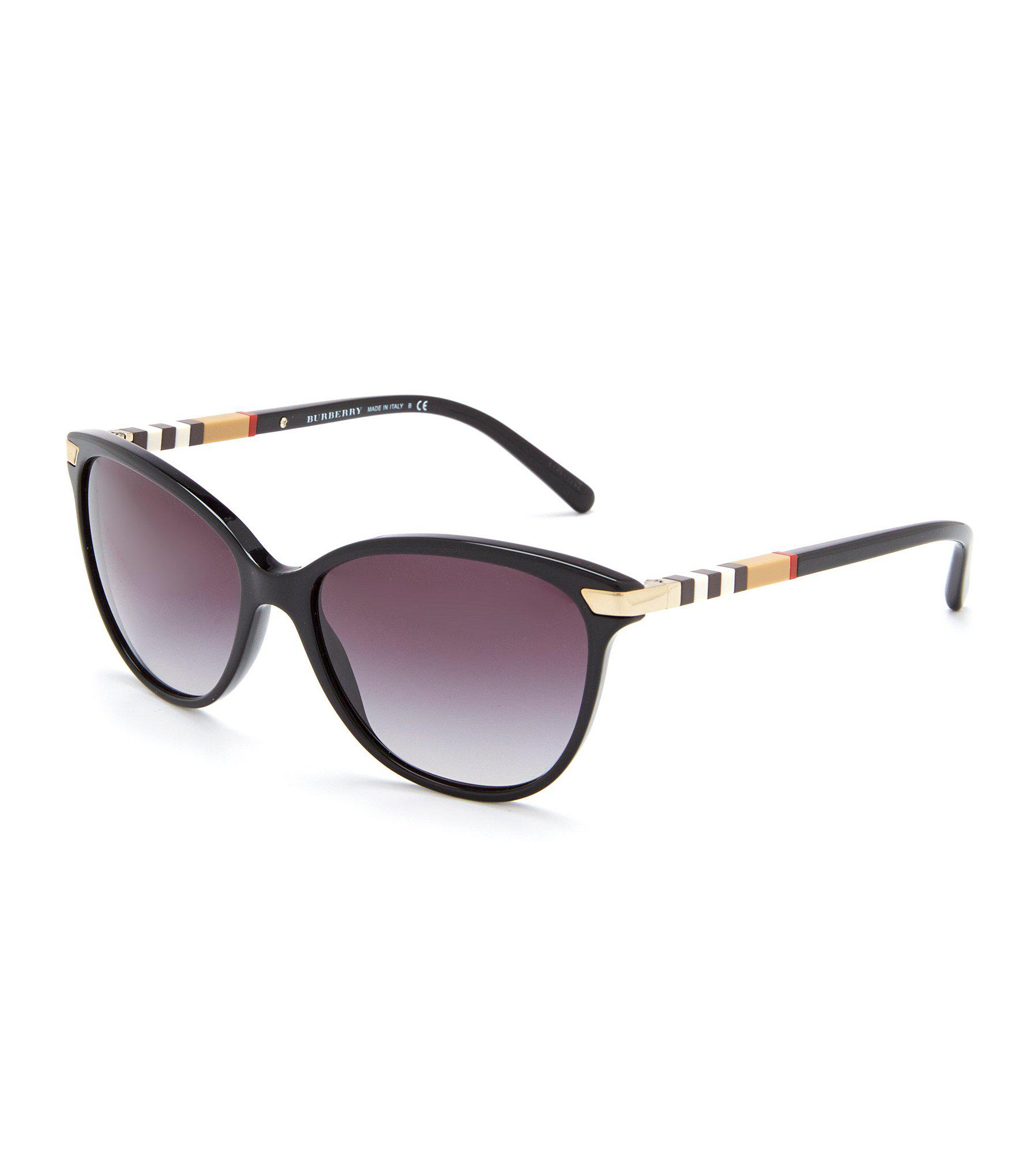 77613cbf93ac Lyst - Burberry Heritage Color Block Square Check Cat Eye Sunglasses ...