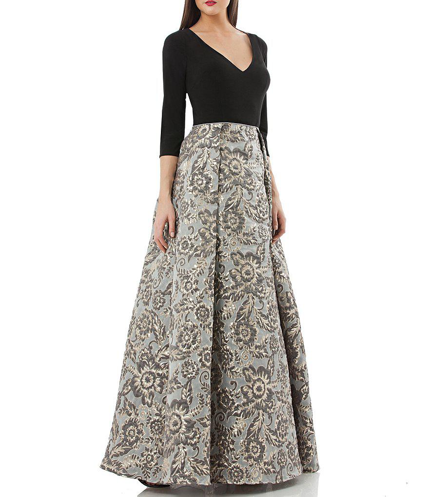 Lyst - Js Collections V-neck Jacquard Ball Gown in Black