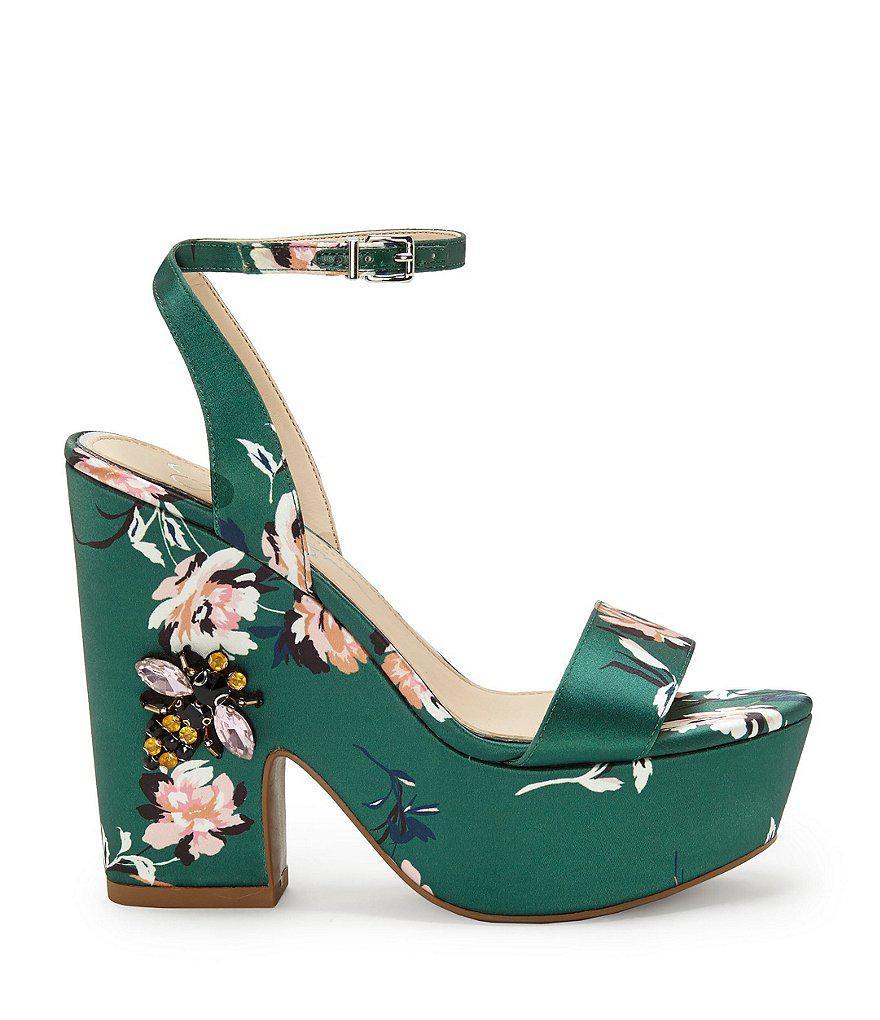 Jessica Simpson Carena Satin Floral Print Ankle Strap Platform Embellished Dress Sandals ZQ41D