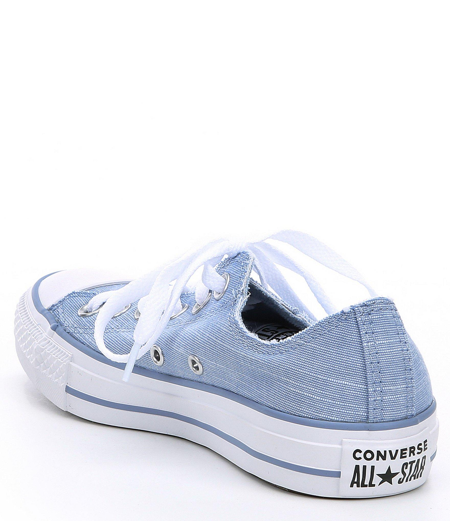 Women's Blue Chuck Taylor All Star Frayed Lines Low top Sneakers