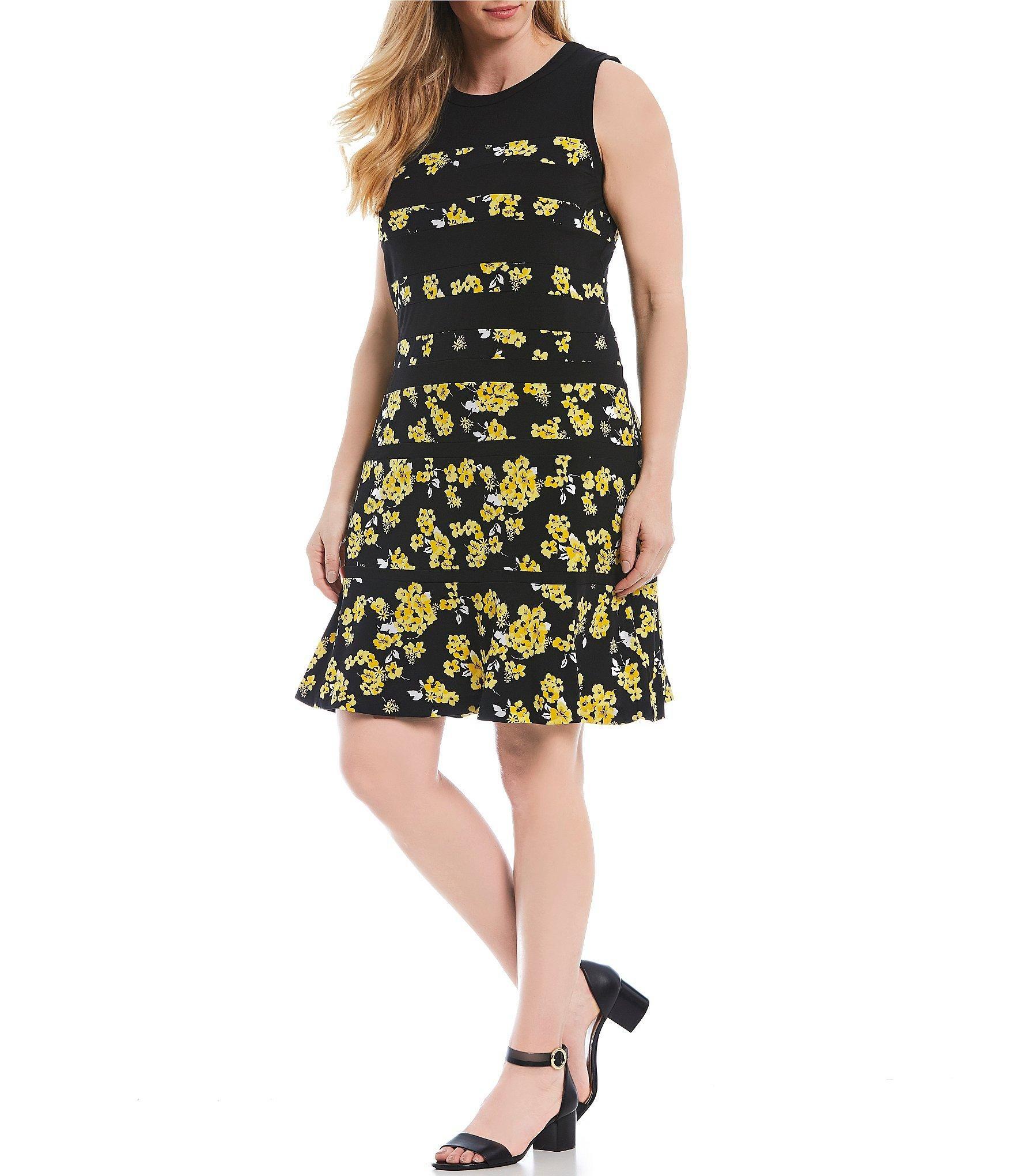 8ed7c6b6c9eb6 MICHAEL Michael Kors. Women's Black Plus Size Glam Painterly Fleur ...
