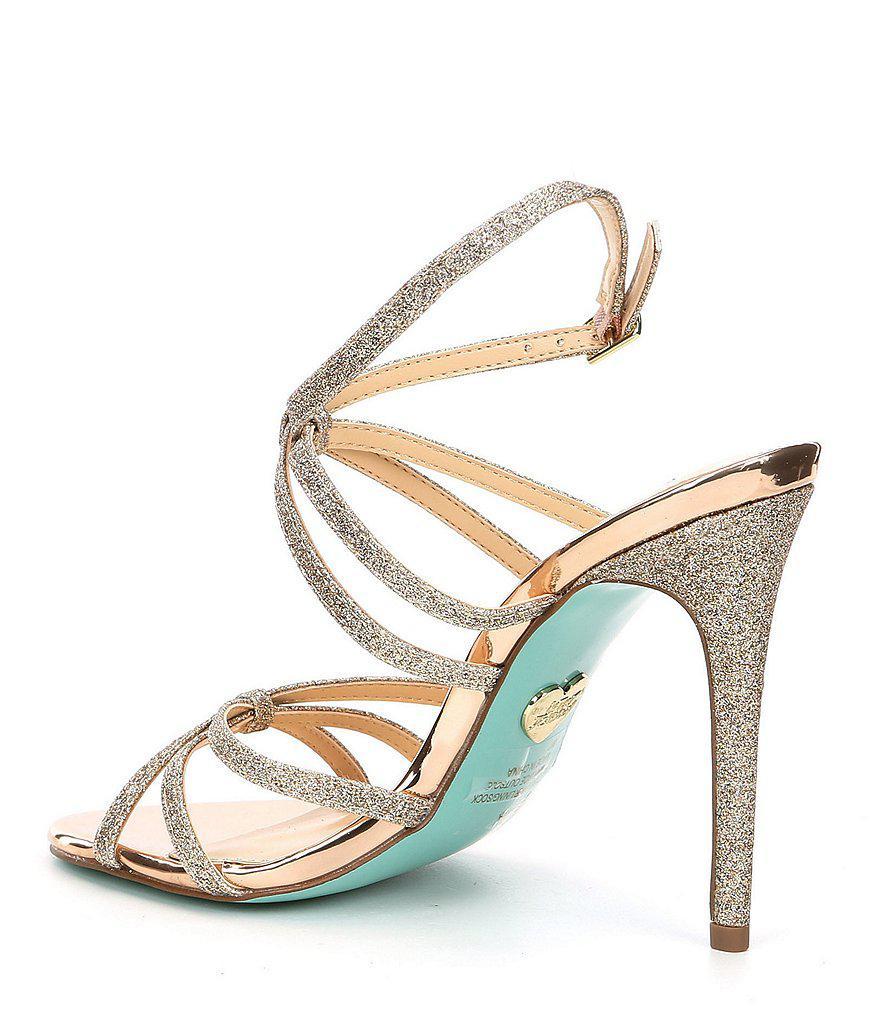 Blue by Betsey Johnson Myla Metallic Glitter Strappy Dress Sandals YerCw2