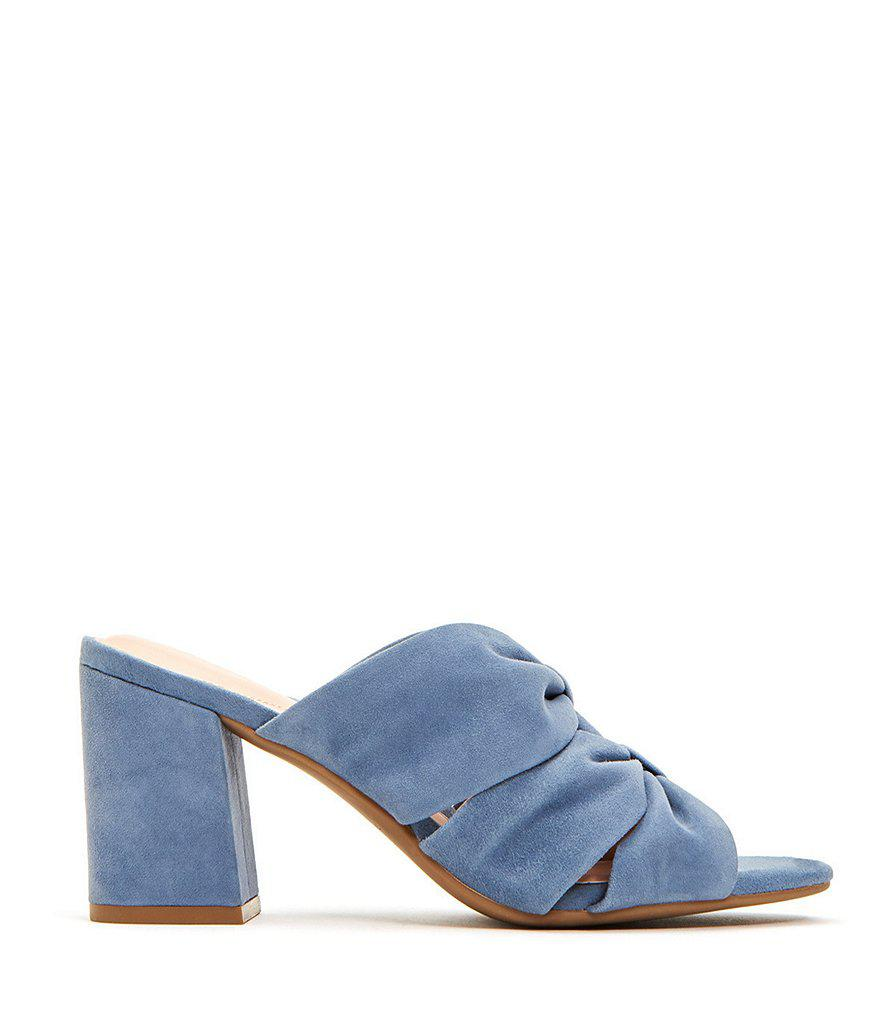 Lana Suede Knotted Block Heel Dress Mules IL8dyan