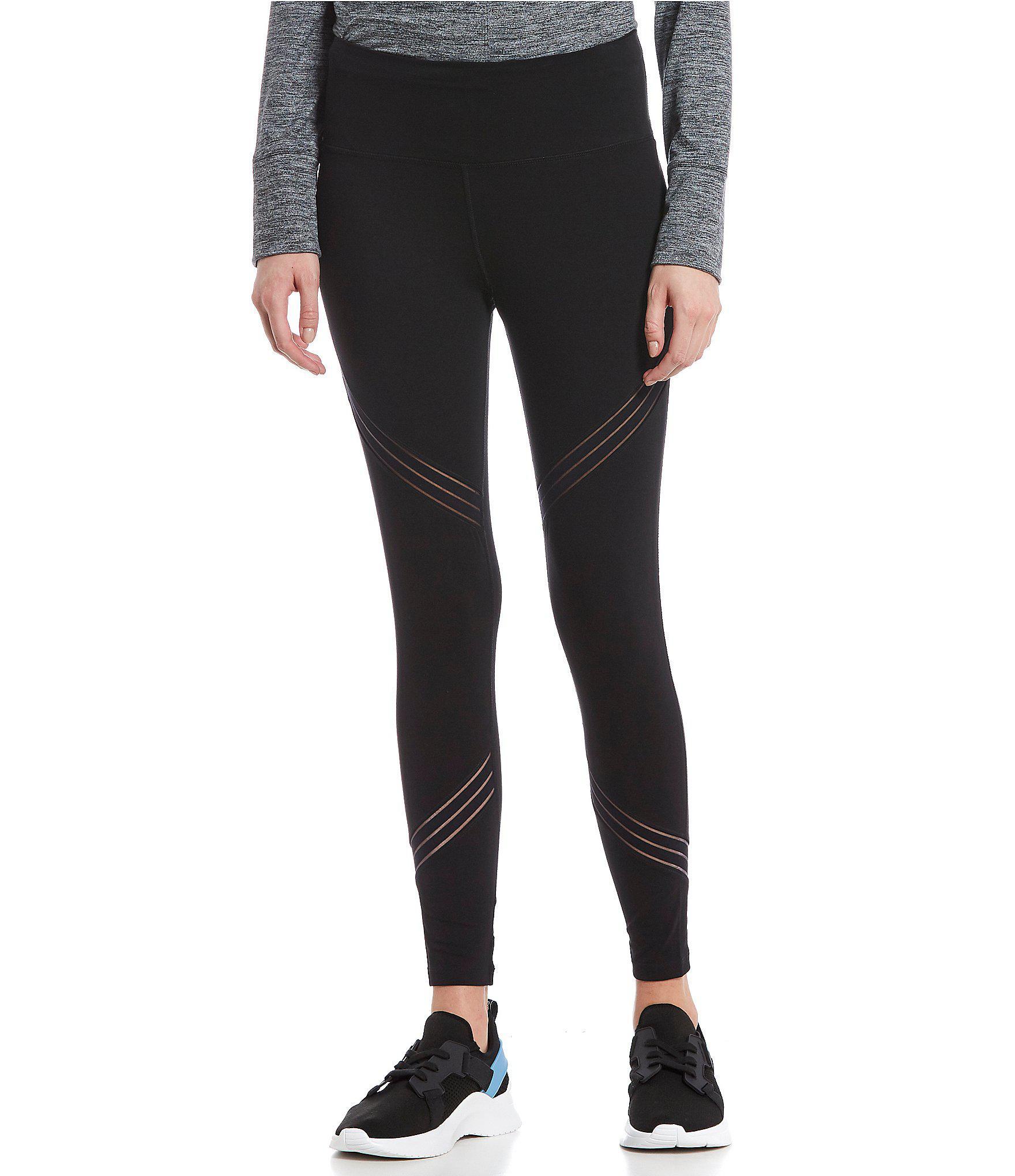 651df8f3c7b8 Calvin Klein. Women s Black Performance Novelty Leg Insets High Waist Knit  Leggings