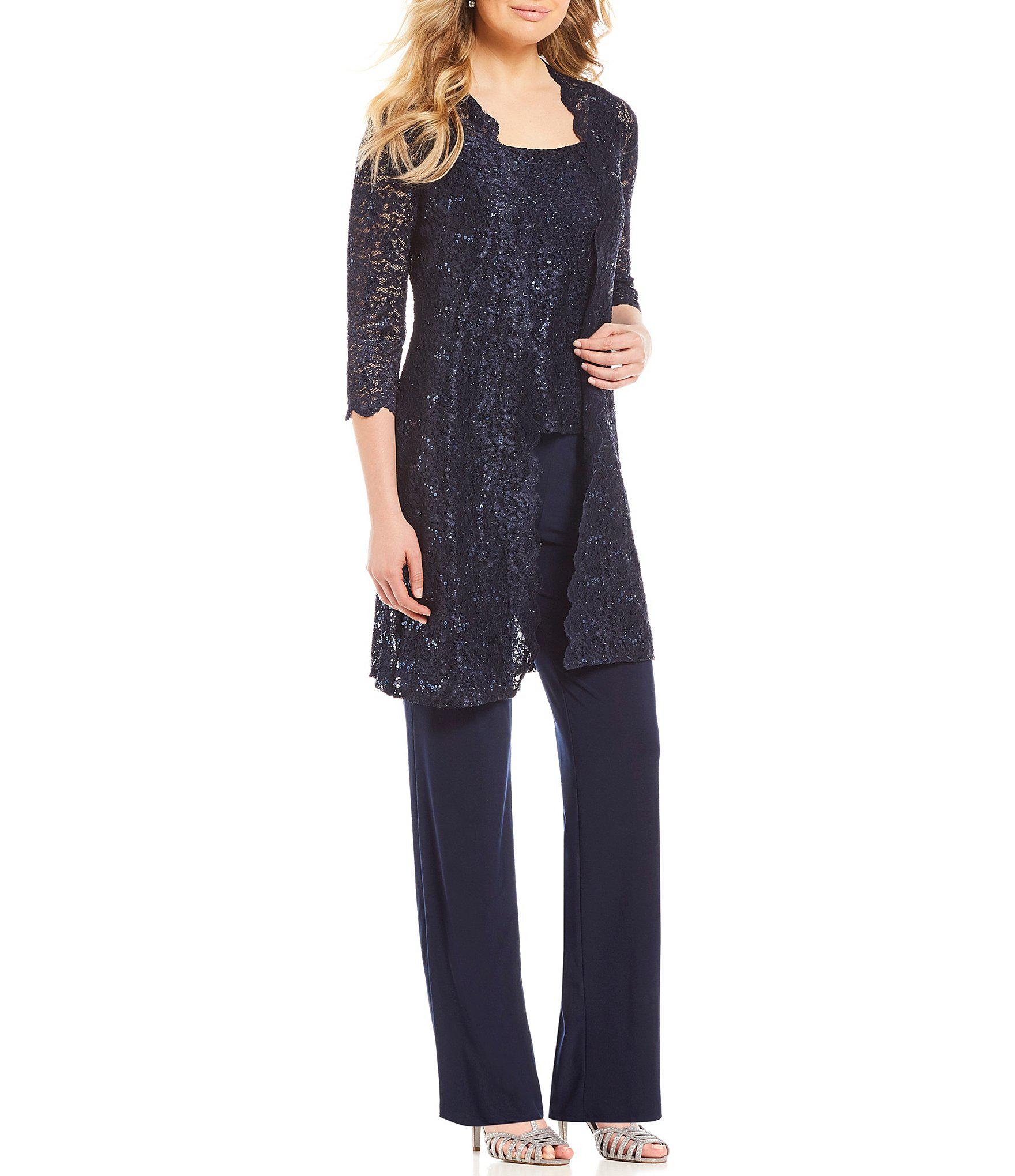 e1c4633738 R   M Richards 3-piece Sequin Glitter Scallop Lace Duster Pant Set ...