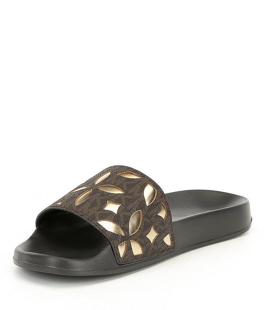 mimi logo floral perforated slide sandals unuw6. Black Bedroom Furniture Sets. Home Design Ideas