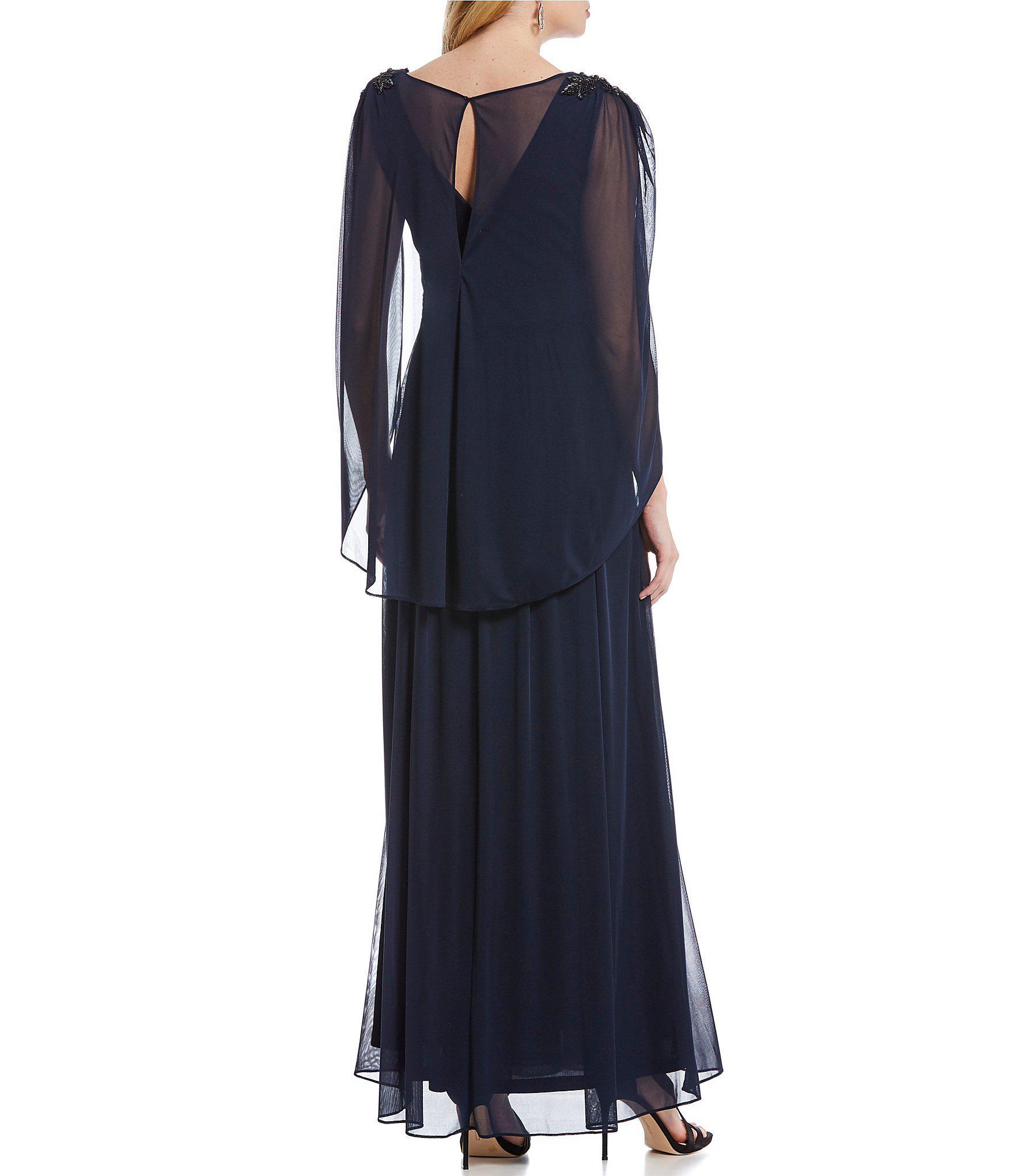 3db0e250071e0 Adrianna Papell - Blue Chiffon Beaded Shoulder Capelet Gown - Lyst. View  fullscreen