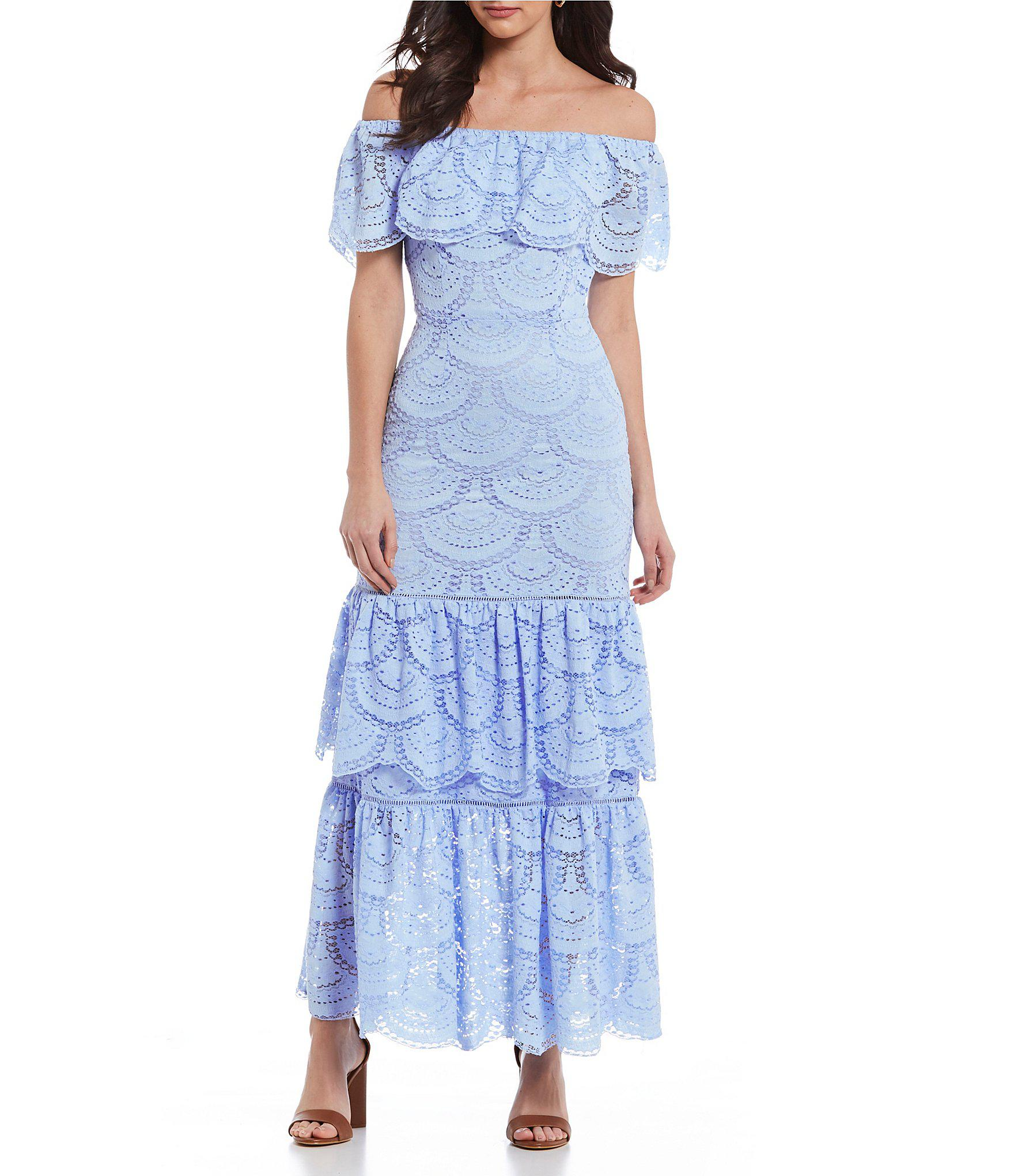 090cfa9f44 Gianni Bini Laney Off-the-shoulder Tiered Lace Maxi Dress in Blue - Lyst