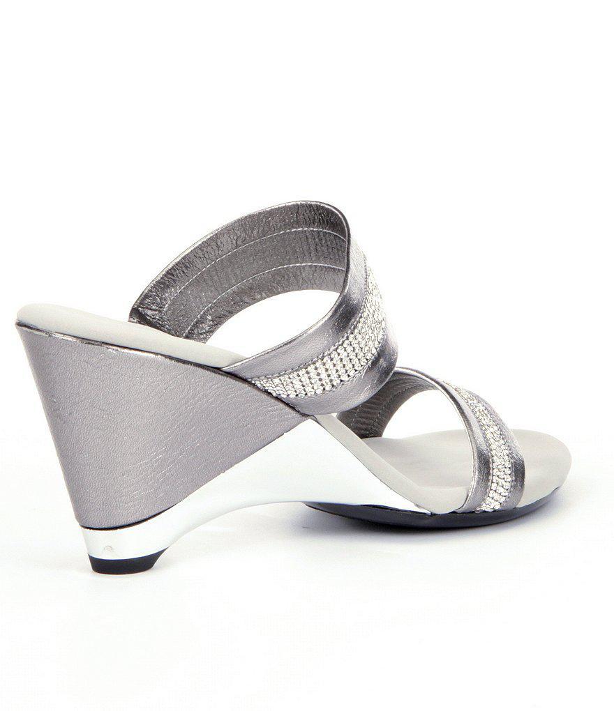Stunning Jeweled Metallic Leather Wedge Dress Sandals dNVq3c4