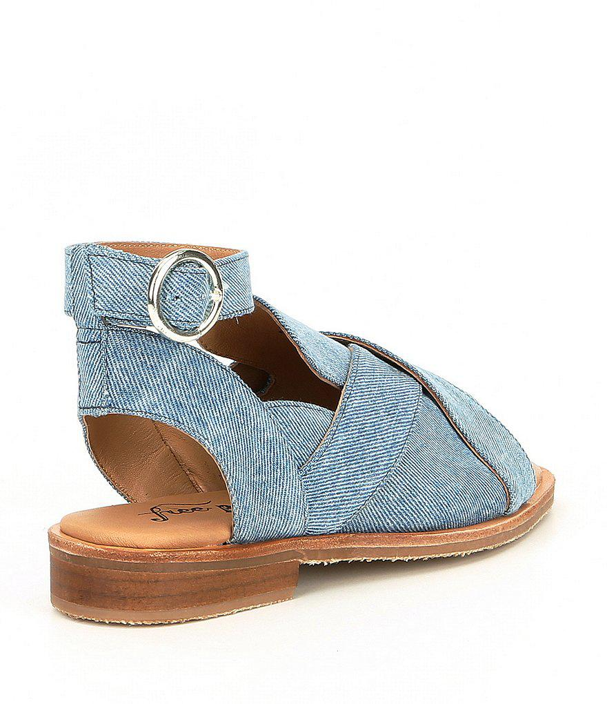 2424ad2ee4d Lyst - Free People Denim Catherine Ankle Strap Loafer Sandals in Blue