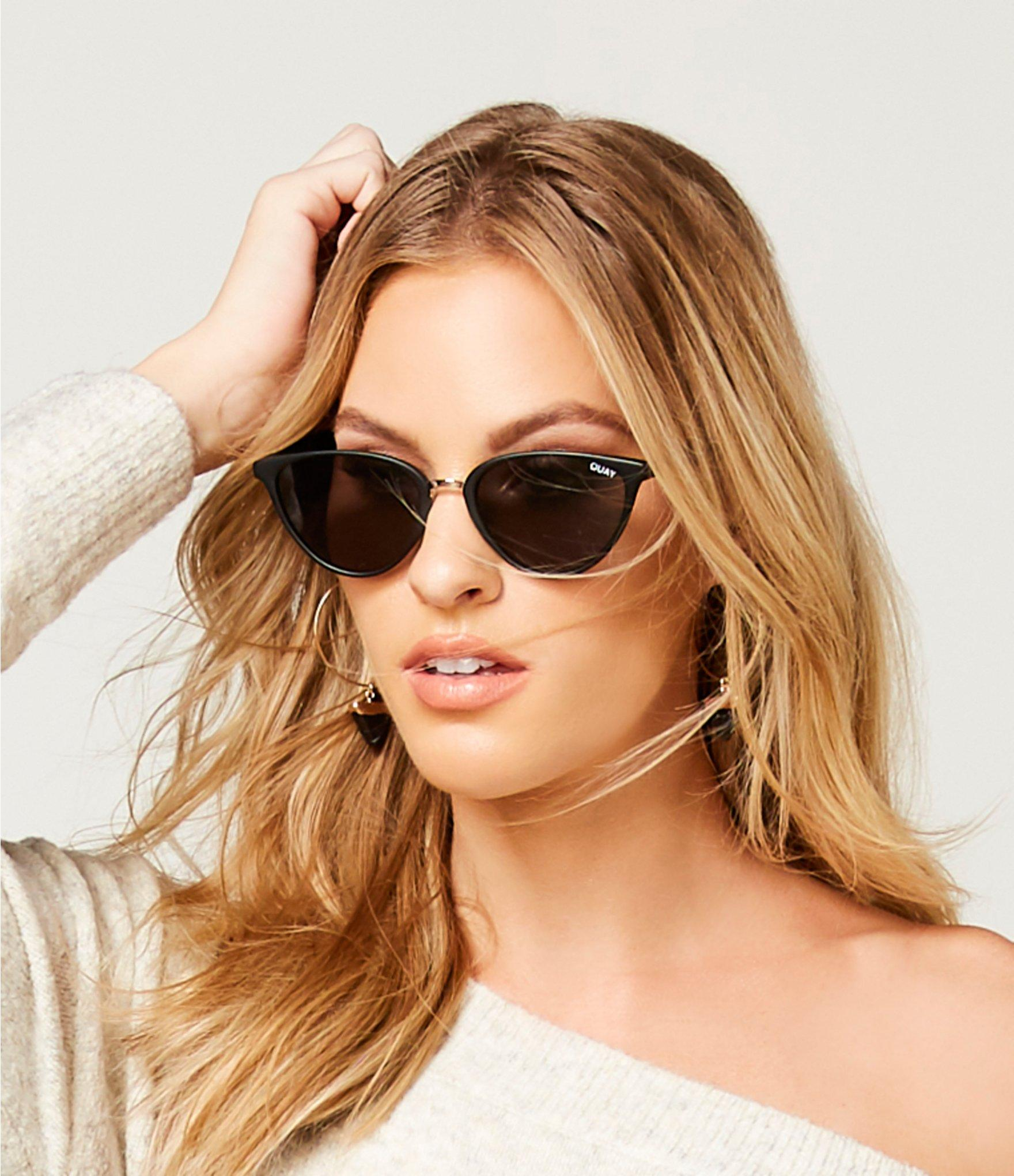 e27facf0506 Quay Rumors Round Cat-eye Sunglasses in Black - Lyst