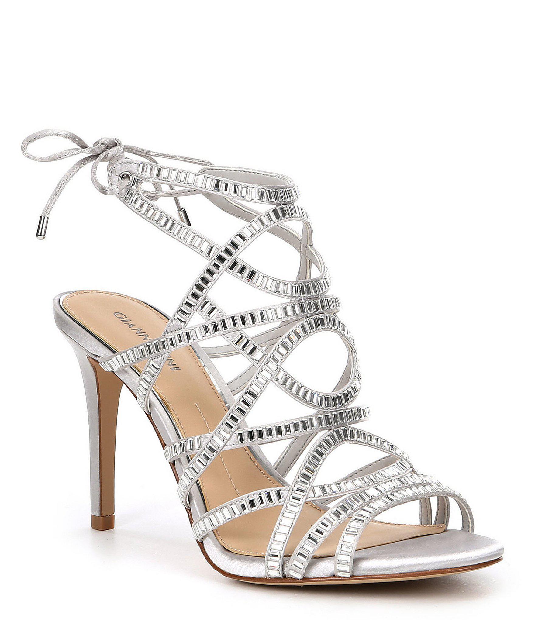 2cd73d349ef Lyst - Gianni Bini Kellzie Satin Jeweled Caged Dress Sandals in Metallic