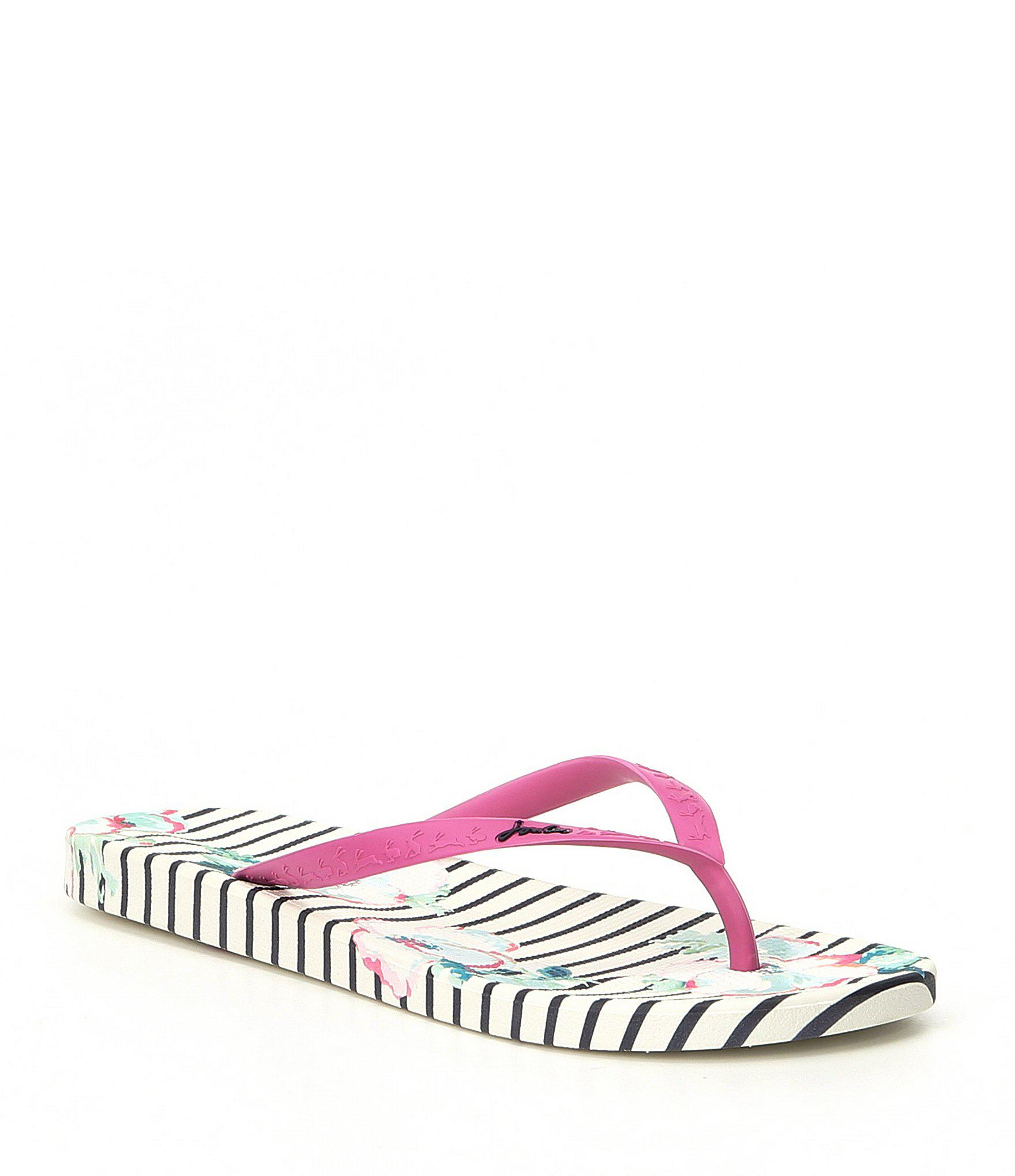 8c608912fbed4 Lyst - Joules Printed Floral Striped Flip Flop Sandals