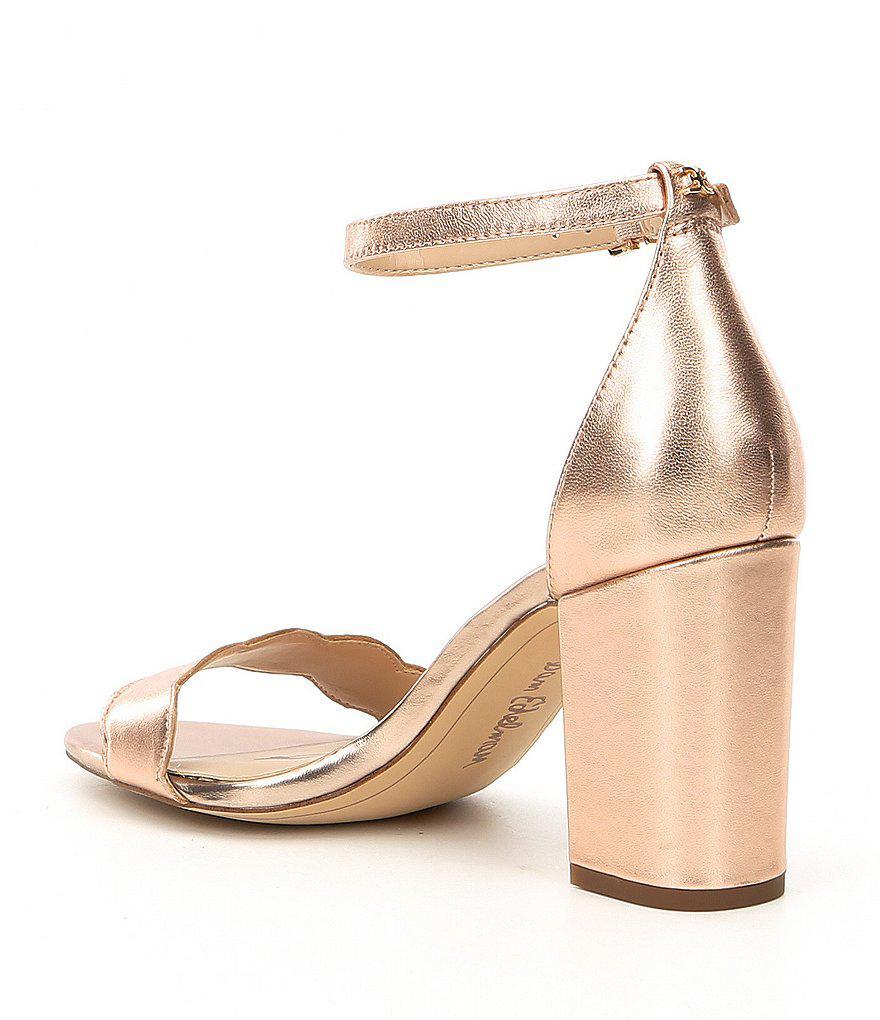 Odila Metallic Leather Ankle Strap Block Heel Dress Sandals T0CiA8SUa