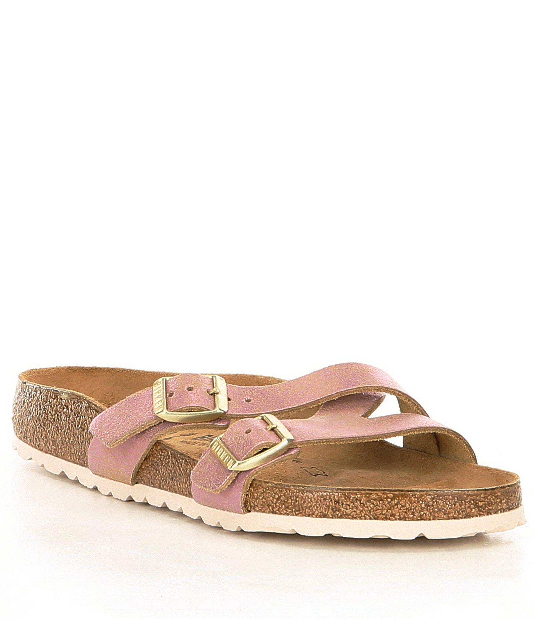 aaf5c057092 Lyst - Birkenstock Women s Yao Washed Metallic Slide Sandals