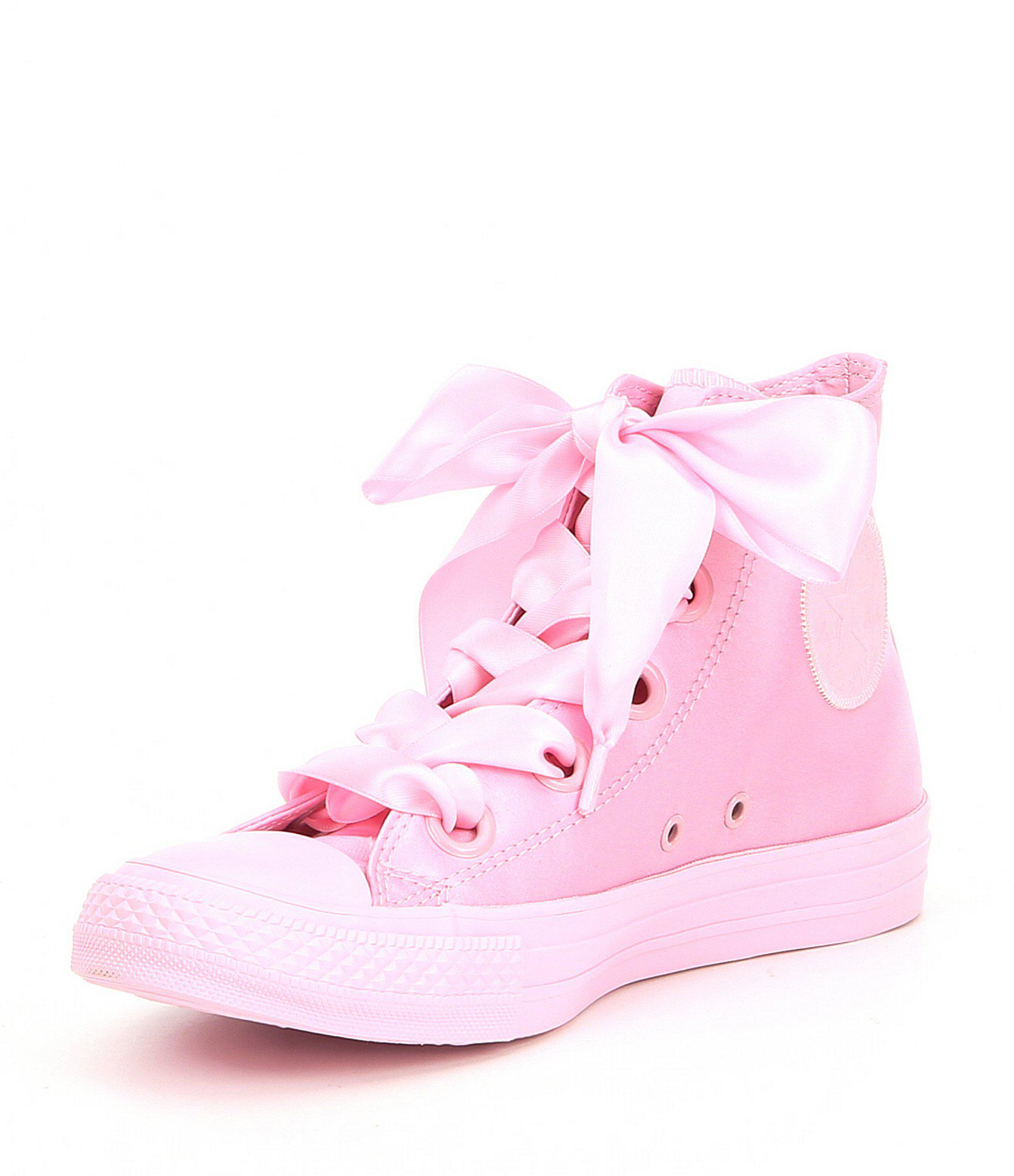 8b84b2a1a196b9 Lyst - Converse Big Eyelets Satin High Top Sneakers in Pink