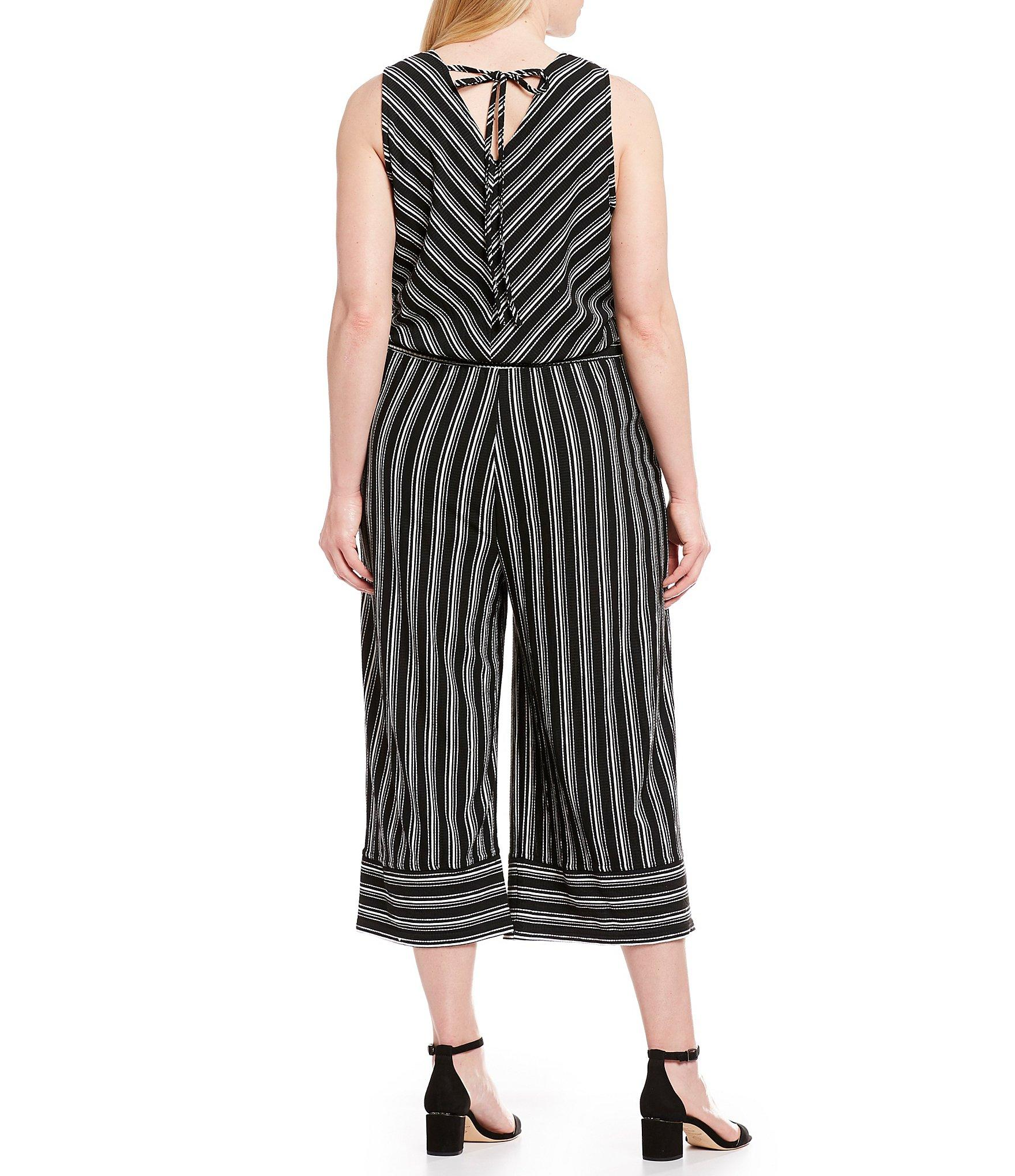 ba197d648c4 ... Striped Surplice V-neck Sleeveless Cropped Jumpsuit - Lyst. View  fullscreen