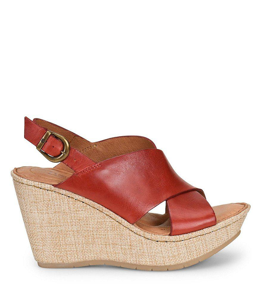 Born Emmy II Fabric Wrapped Wedge Sandals