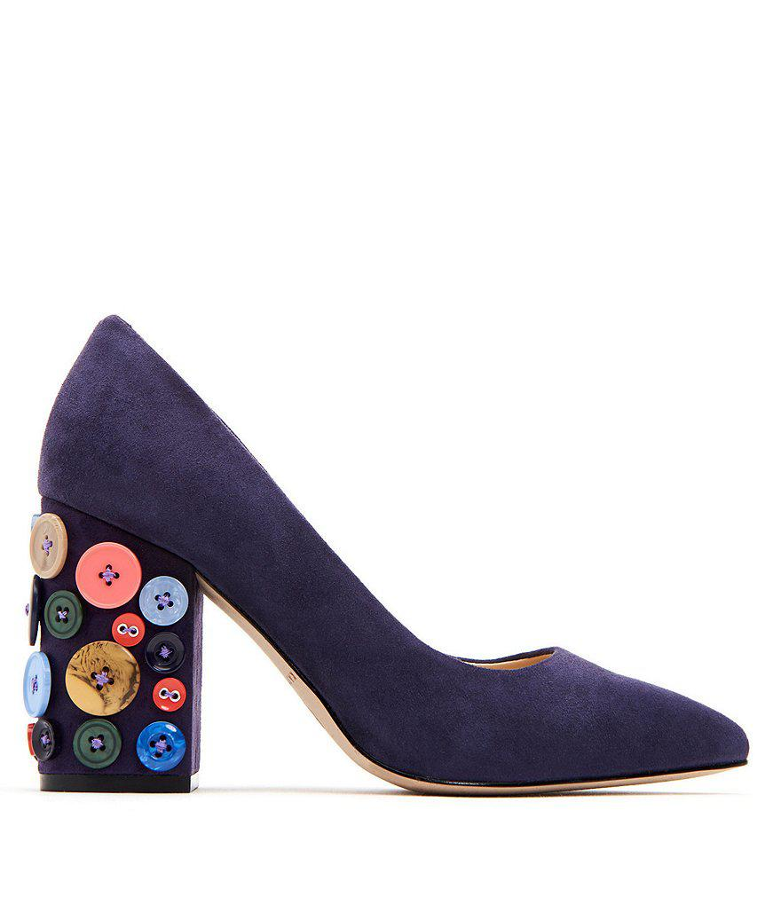 The Anjelica Suede Button Detail Block Heel Pumps PwrS4