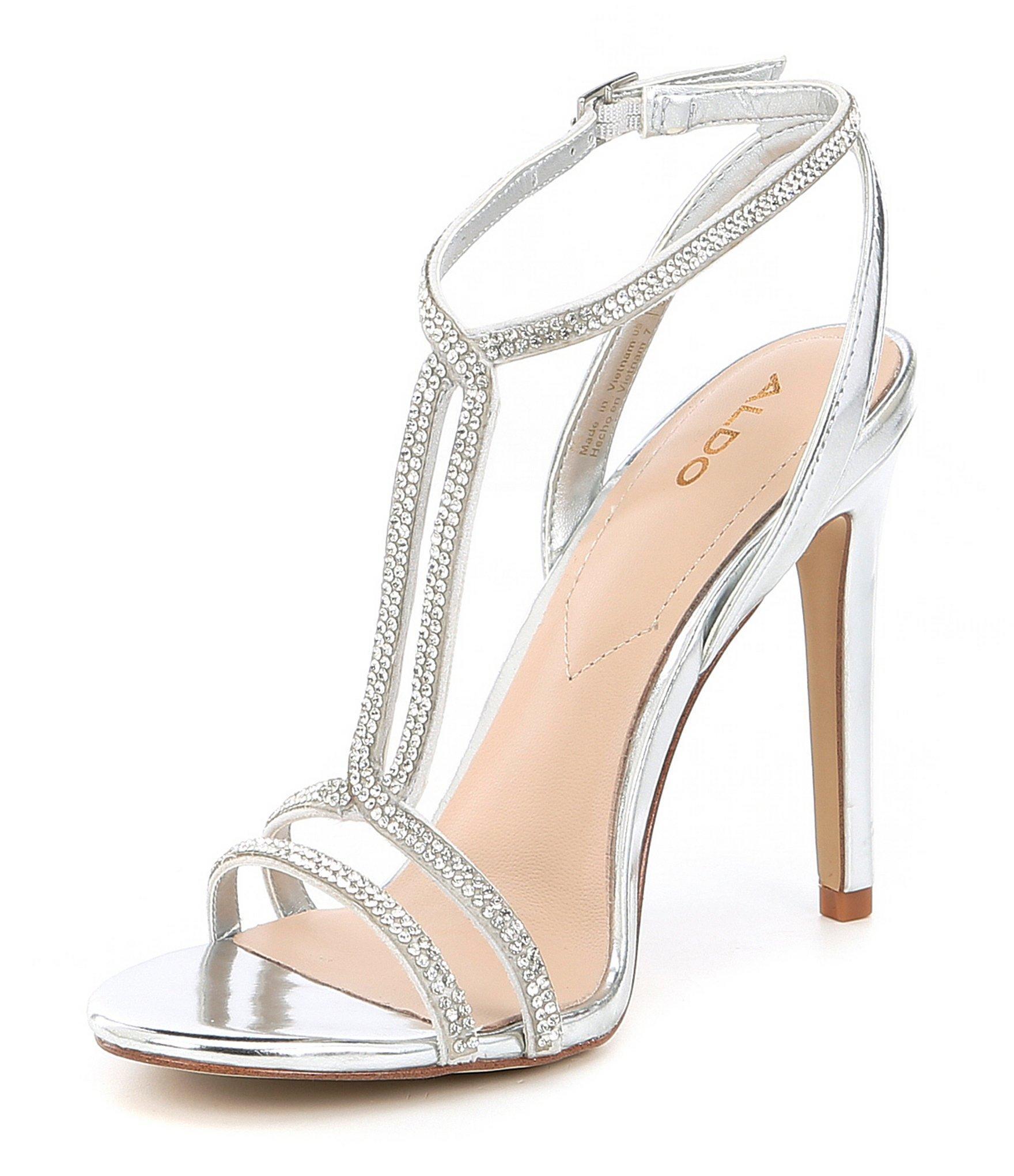 e88ff5f6306 Lyst - ALDO Dovyan Embellished Heeled Sandals In Silver in Metallic