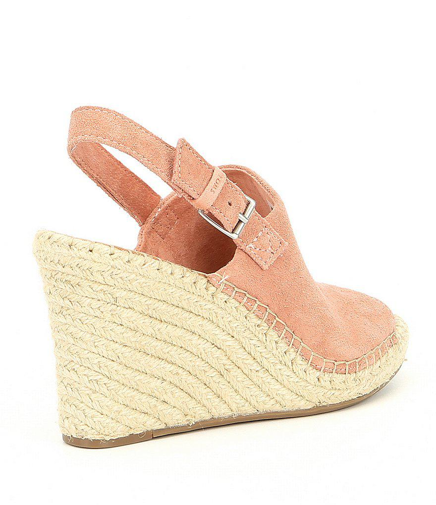 TOMS Monica Suede Backstrap Wedge Espadrille Sandals
