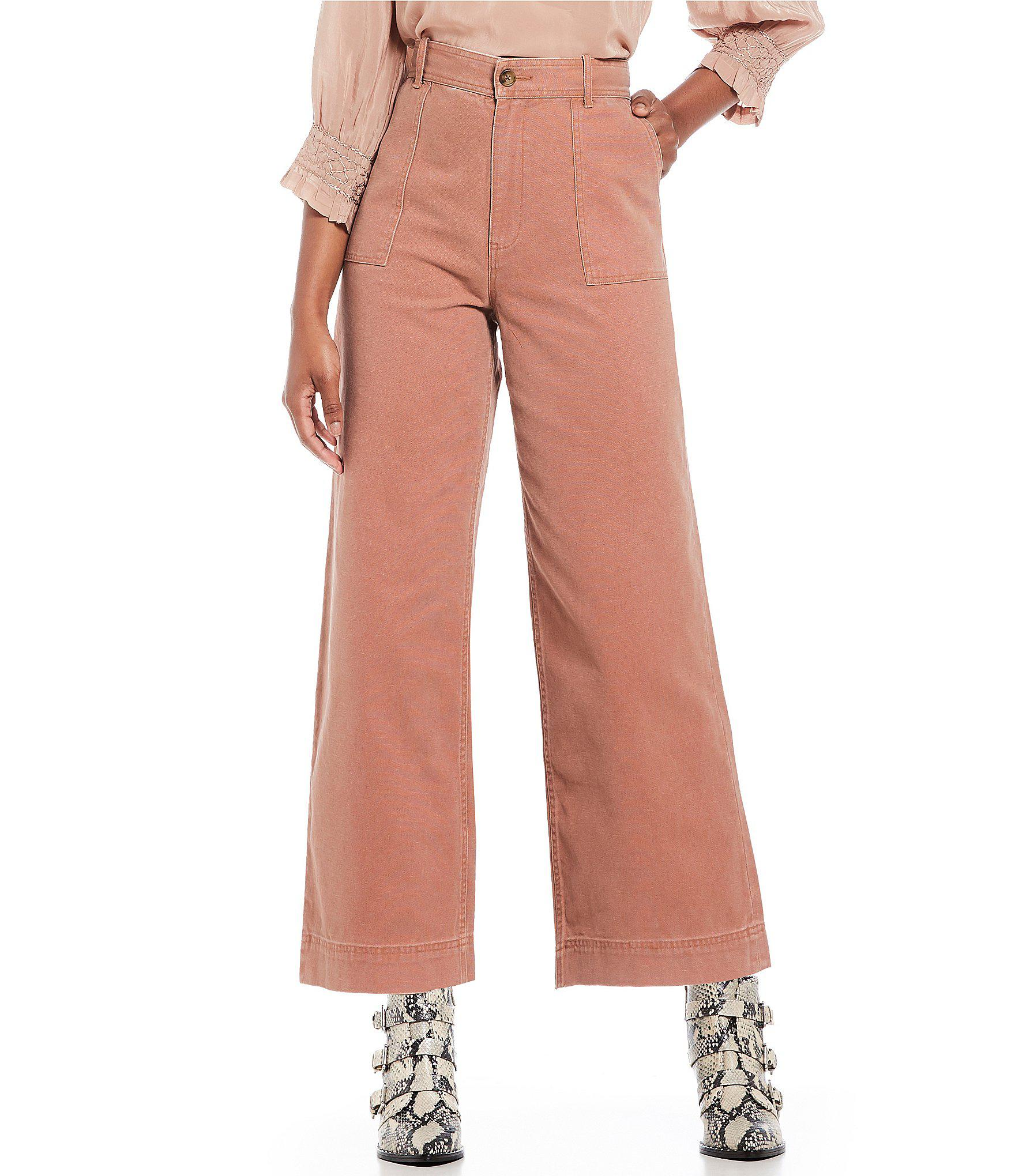 655bd13d9f6f Lyst - Frye Nadia High Rise Wide Leg Ankle Culotte Pant in Pink