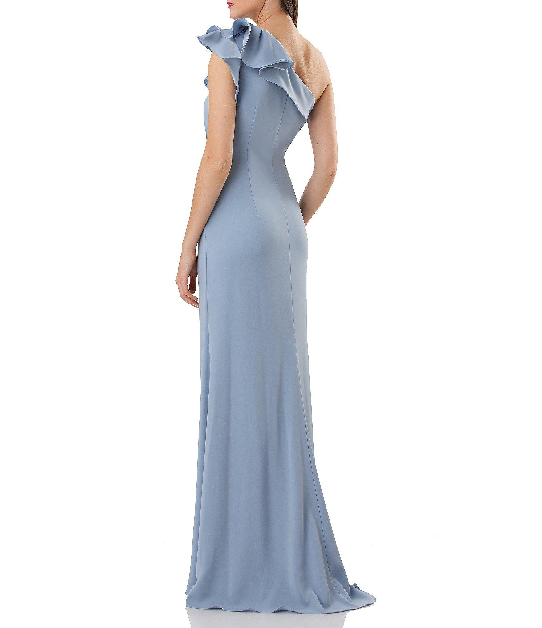 d1570258f3652 Carmen Marc Valvo - Blue Infusion One-shoulder Ruffled Crepe Gown - Lyst.  View fullscreen