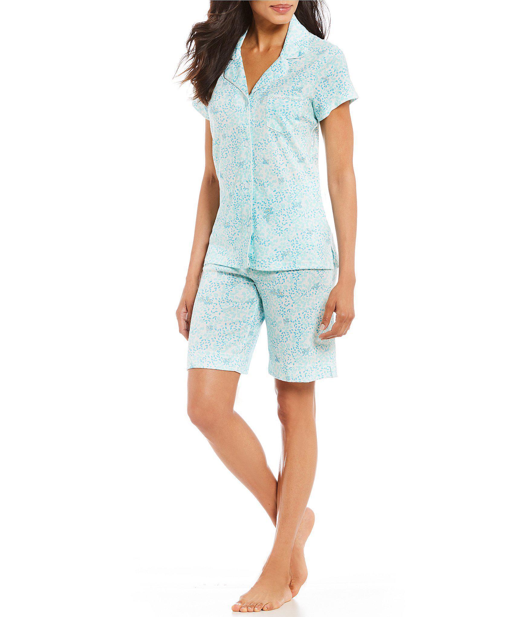 012caaf1da Lyst - Miss Elaine Cottonessa Leaf   Bird-print Bermuda Pajama Set ...