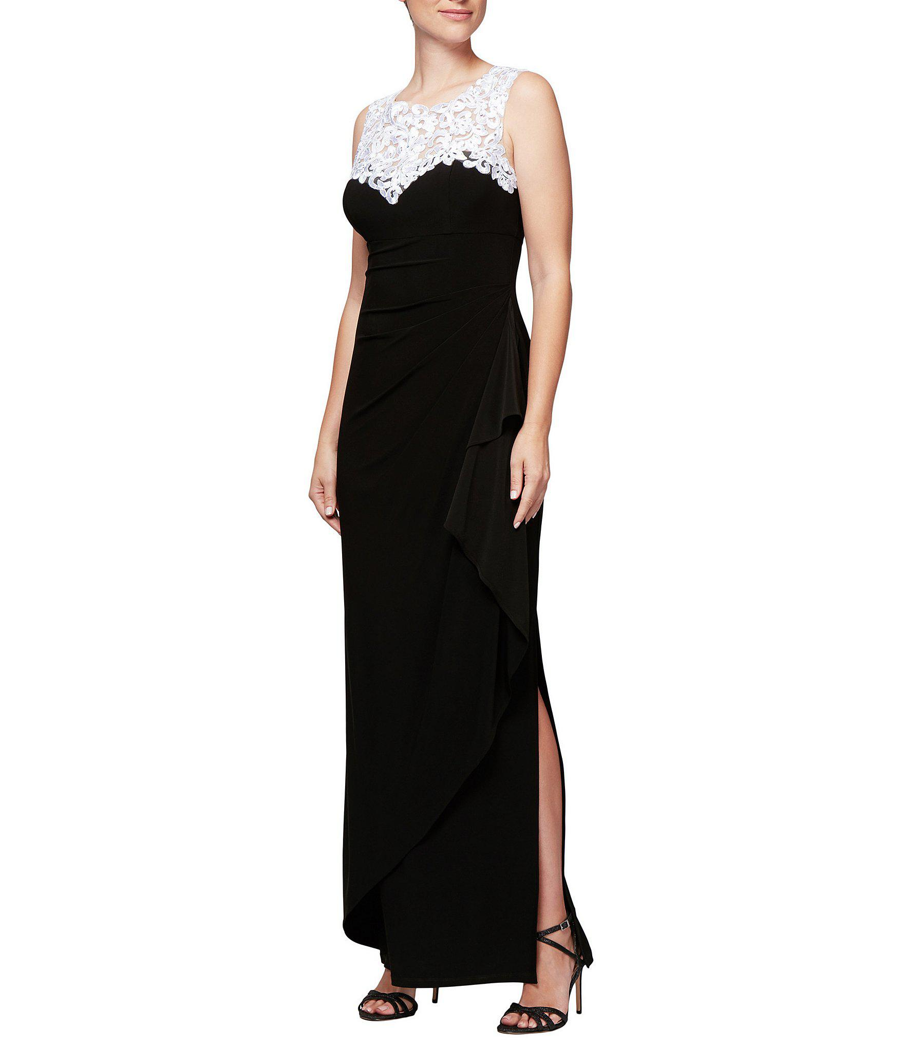 e4a24fa88772 Lyst - Alex Evenings Embroidered Neck Sleeveless Long Gown in Black