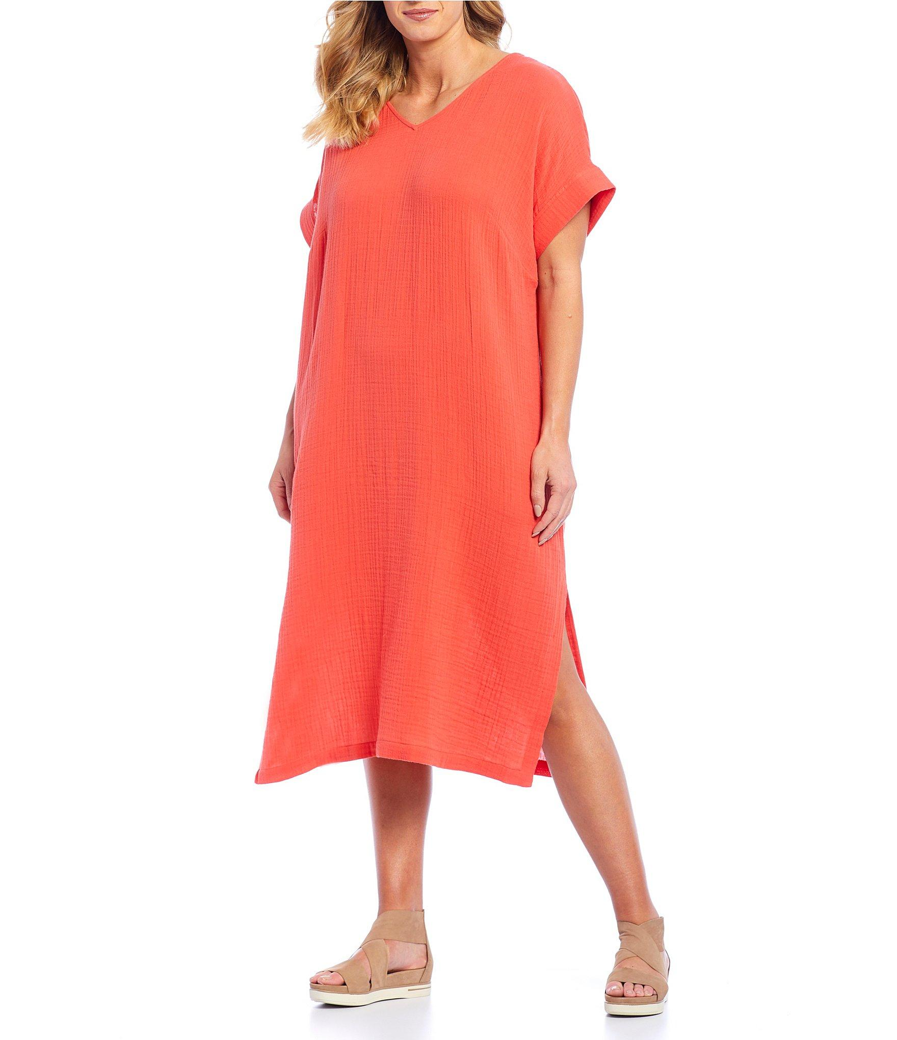 63f81217ba1 Lyst - Eileen Fisher Plus Size V-neck Side Slit Midi Dress in Red