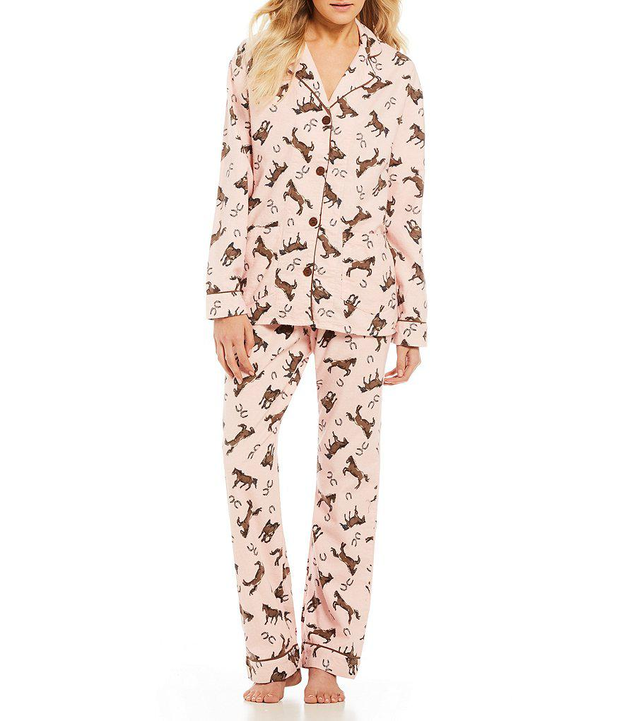 870cfd5c3a7b Lyst - Pj Salvage Horse Flannel Pajamas in Pink